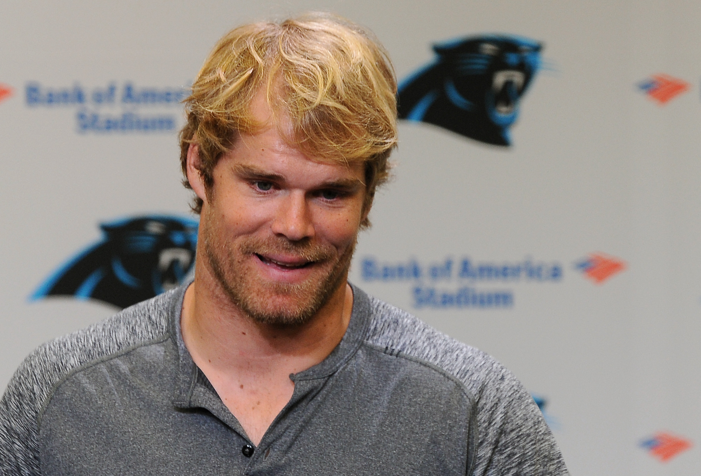 Carolina Panthers NFL football tight end Greg Olsen listens to a reporter's question during a player availability session at Bank of America Stadium on Monday, April 25, 2016.  (Jeff Siner/The Charlotte Observer via AP) MAGS OUT; TV OUT; MANDATORY CREDIT