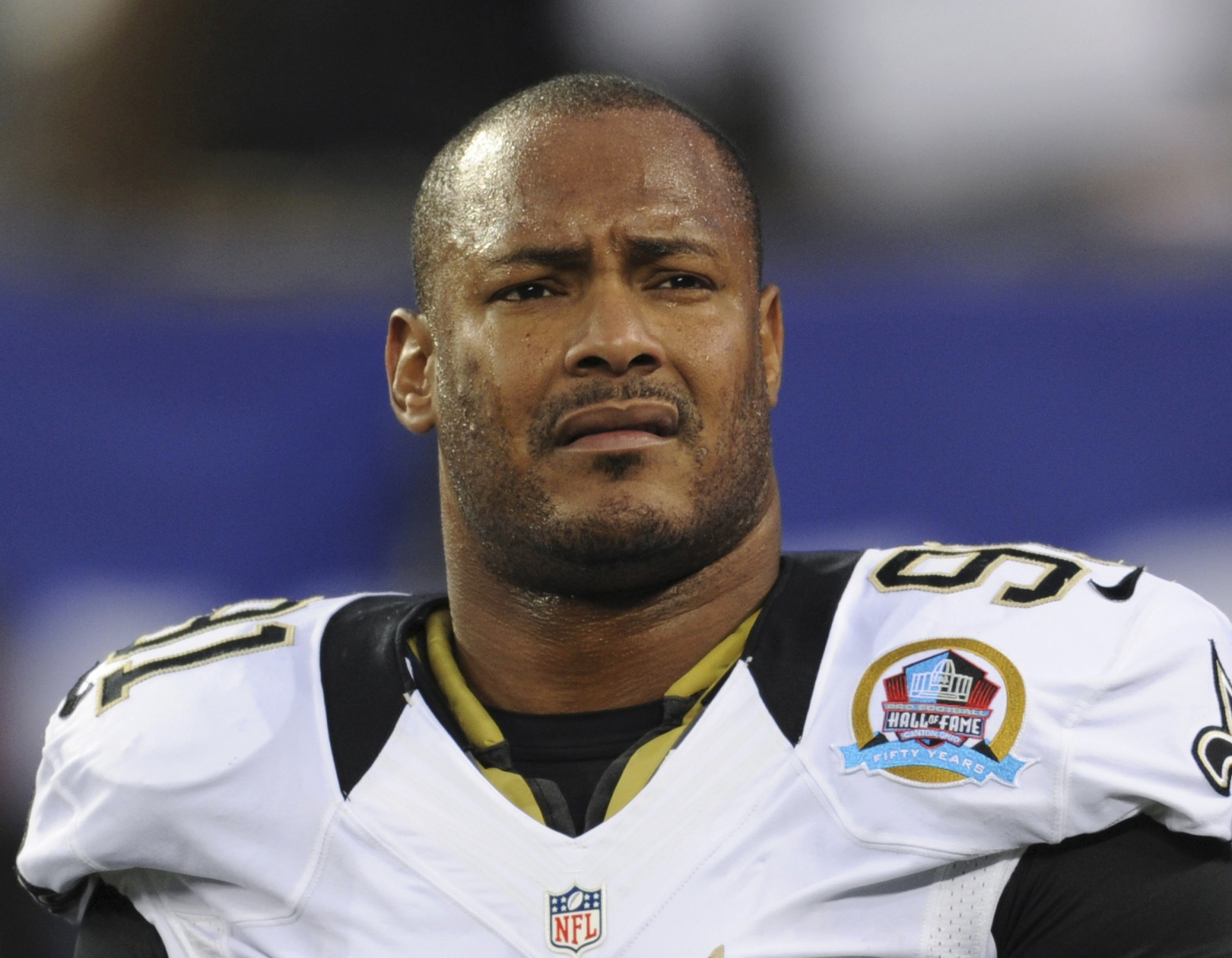 FILE - In this Dec. 9, 2012, file photo, New Orleans Saints defensive end Will Smith appears before an NFL football game against the New York Giants in East Rutherford, N.J. Prosecutors will have to present witnesses against the man accused of killing ret