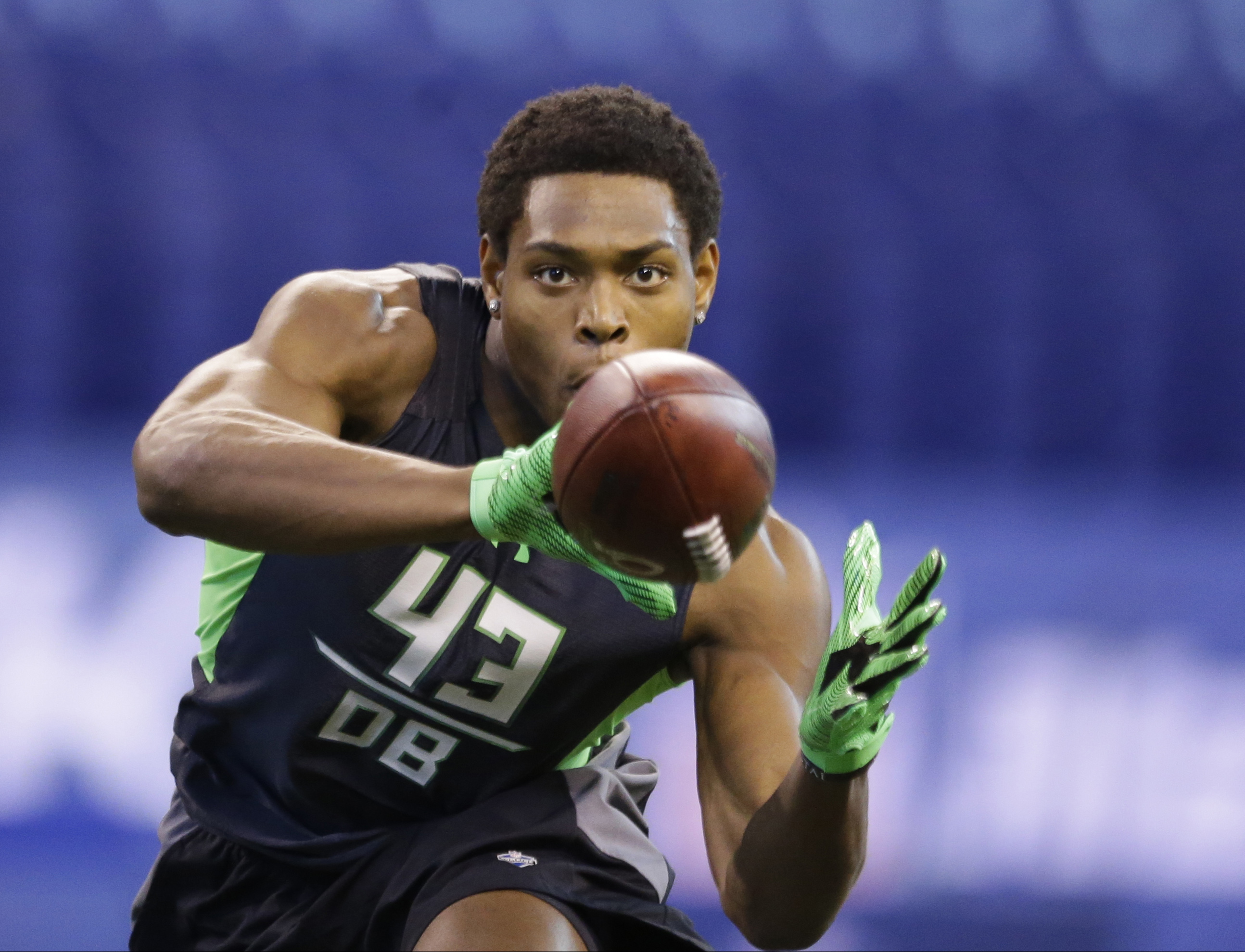 FILE - In this Feb. 29, 2016, file photo, Florida State defensive back Jalen Ramsey runs a drill at the NFL football scouting combine in Indianapolis. With the Rams and Eagles having traded up to secure the top two spots, where they have said they will ta