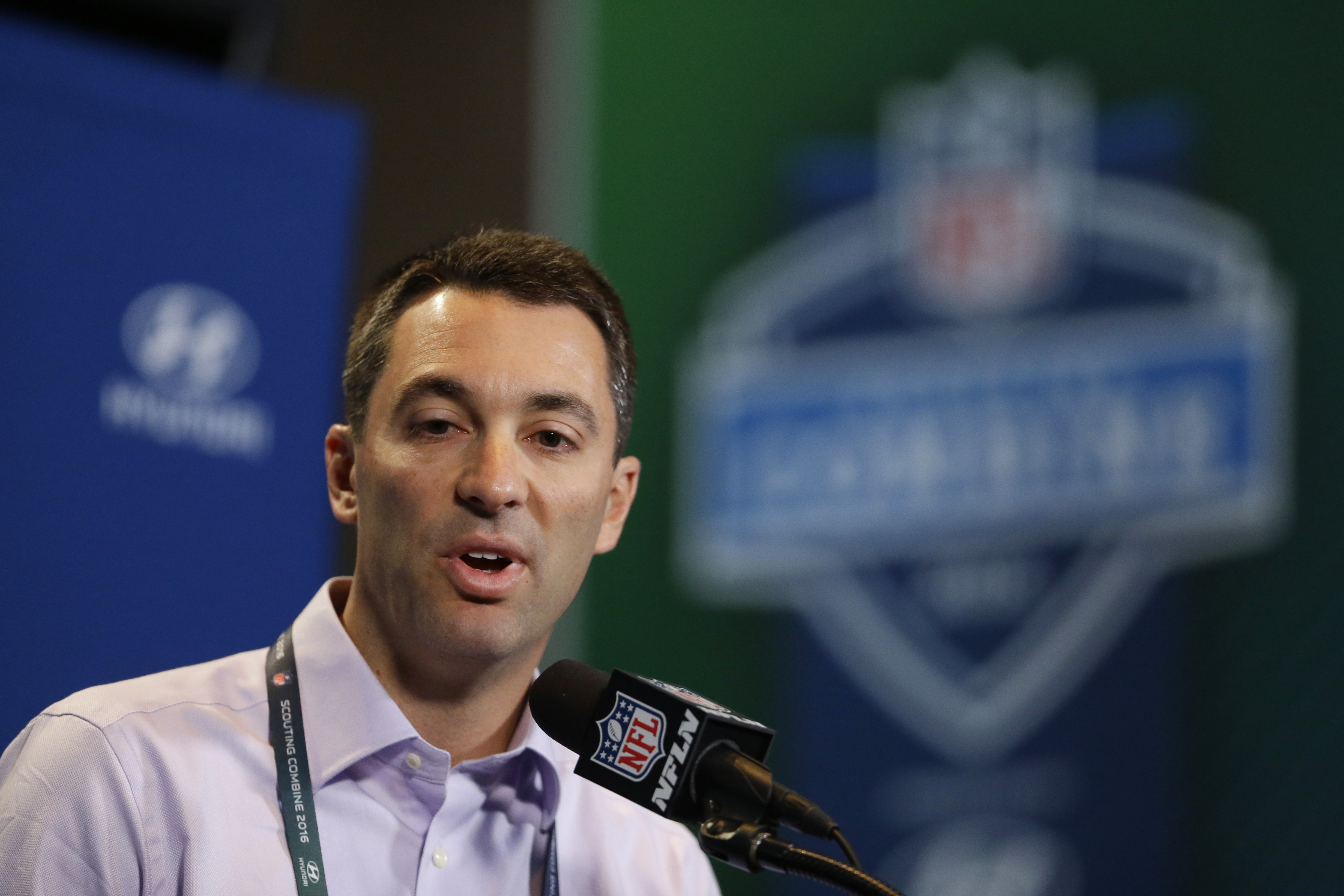 FILE - In this Feb. 25, 2016, file photo, San Diego Chargers general manager Tom Telesco speaks during a news conference at the NFL football scouting combine in Indianapolis. With the Rams and Eagles having traded up to secure the top two spots, where the