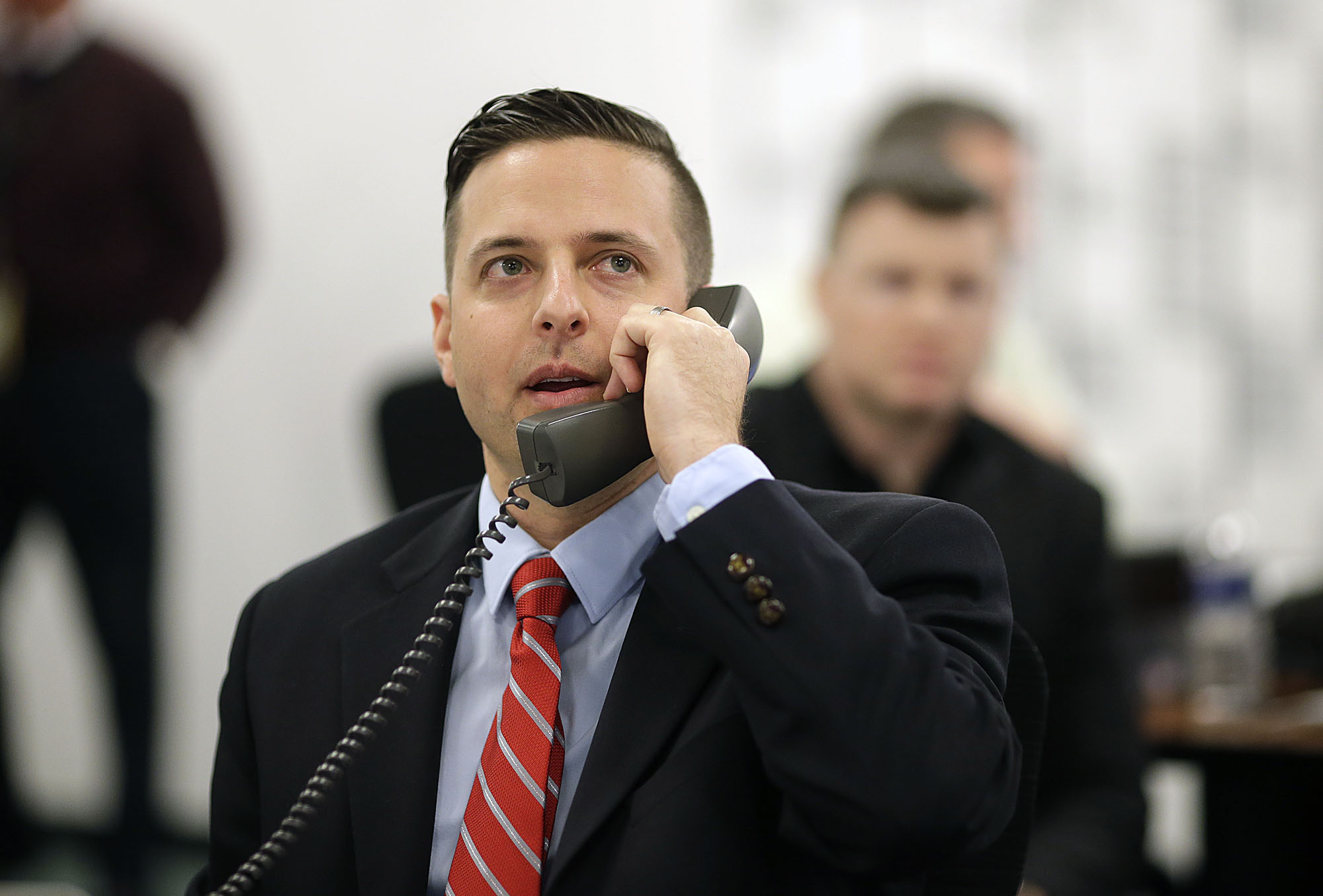 Green Bay Packers' Eliot Wolf, director of football operations, makes a phone call inside the war room during the 2016 NFL Football draft at Lambeau Field in Green Bay, Wis., on Thursday, April 28, 2016. (Evan Siegle/The Green Bay Press-Gazette via AP) NO