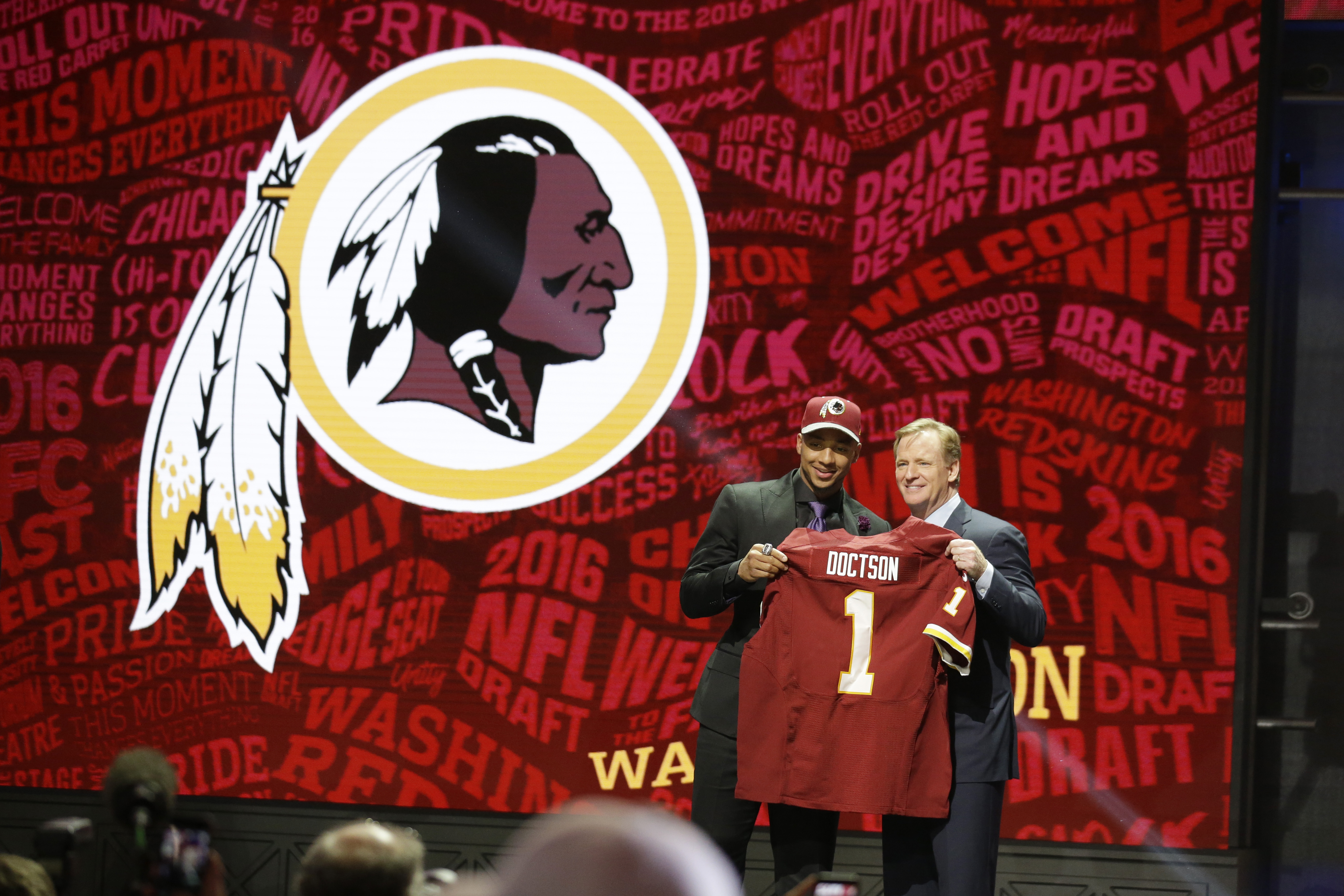 TCUs Josh Doctson poses for photos with NFL commissioner Roger Goodell after being selected by Washington Redskins as the 22nd pick in the first round of the 2016 NFL football draft, Thursday, April 28, 2016, in Chicago. (AP Photo/Nam Y. Huh)