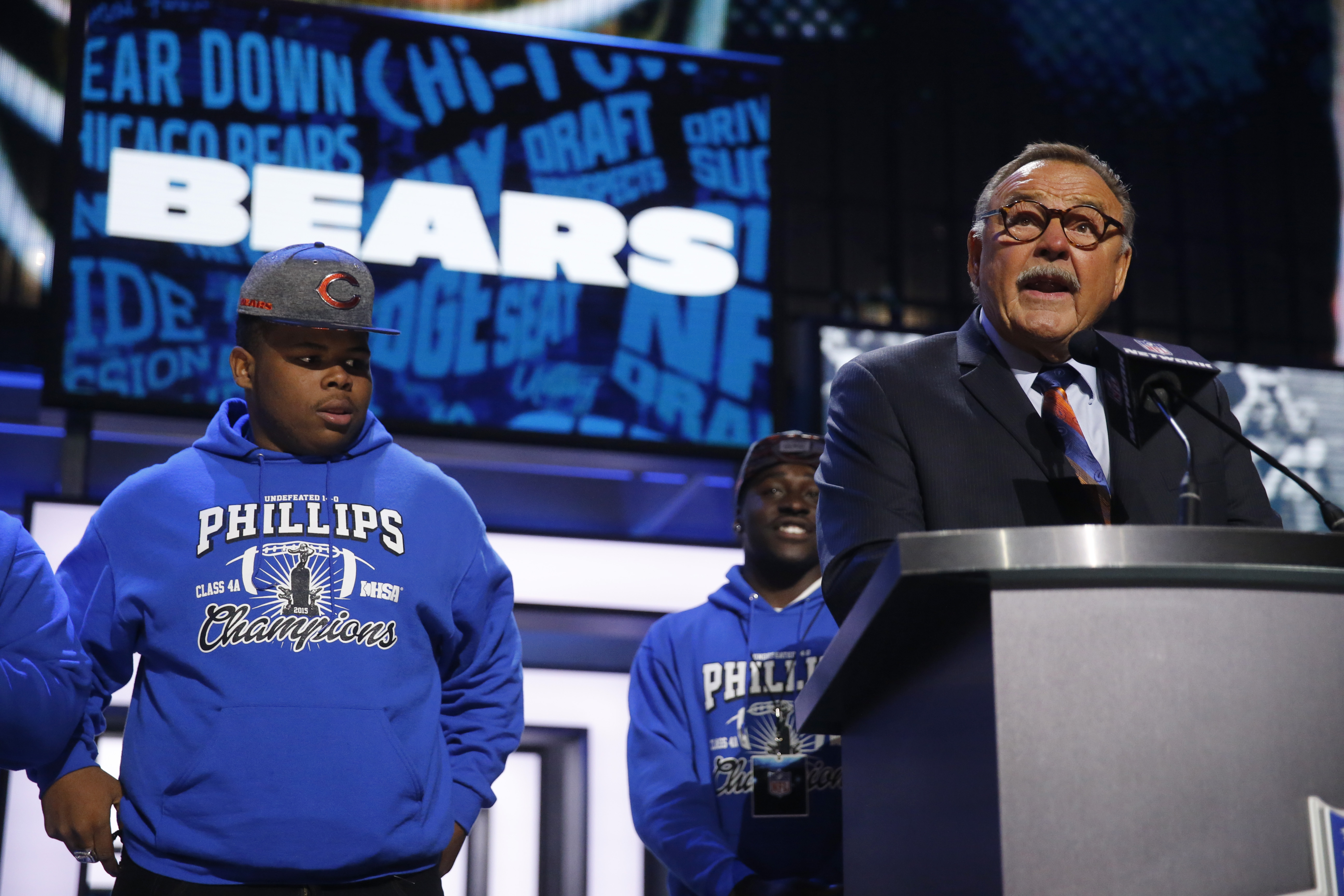 Former NFL player Dick Butkus announces that the Chicago Bears selects Kansas States Cody Whitehair as the 56th pick in the second round of the 2016 NFL football draft, Friday, April 29, 2016, in Chicago. (AP Photo/Charles Rex Arbogast)