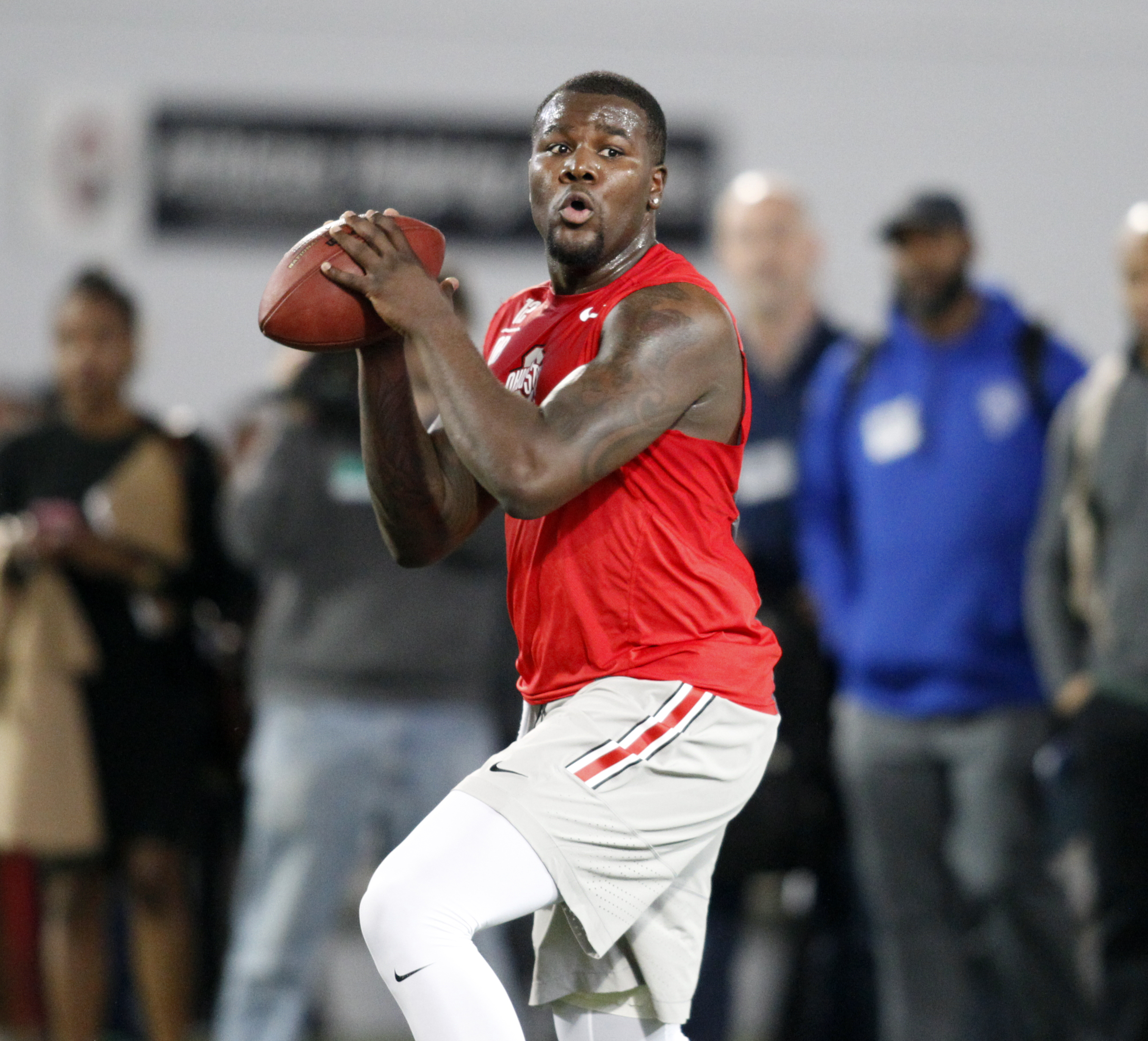 Ohio State quarterback Cardale Jones drops back to pass during NFL Pro Day at Ohio State University in Columbus, Ohio, Friday, March 11, 2016. (AP Photo/Paul Vernon)