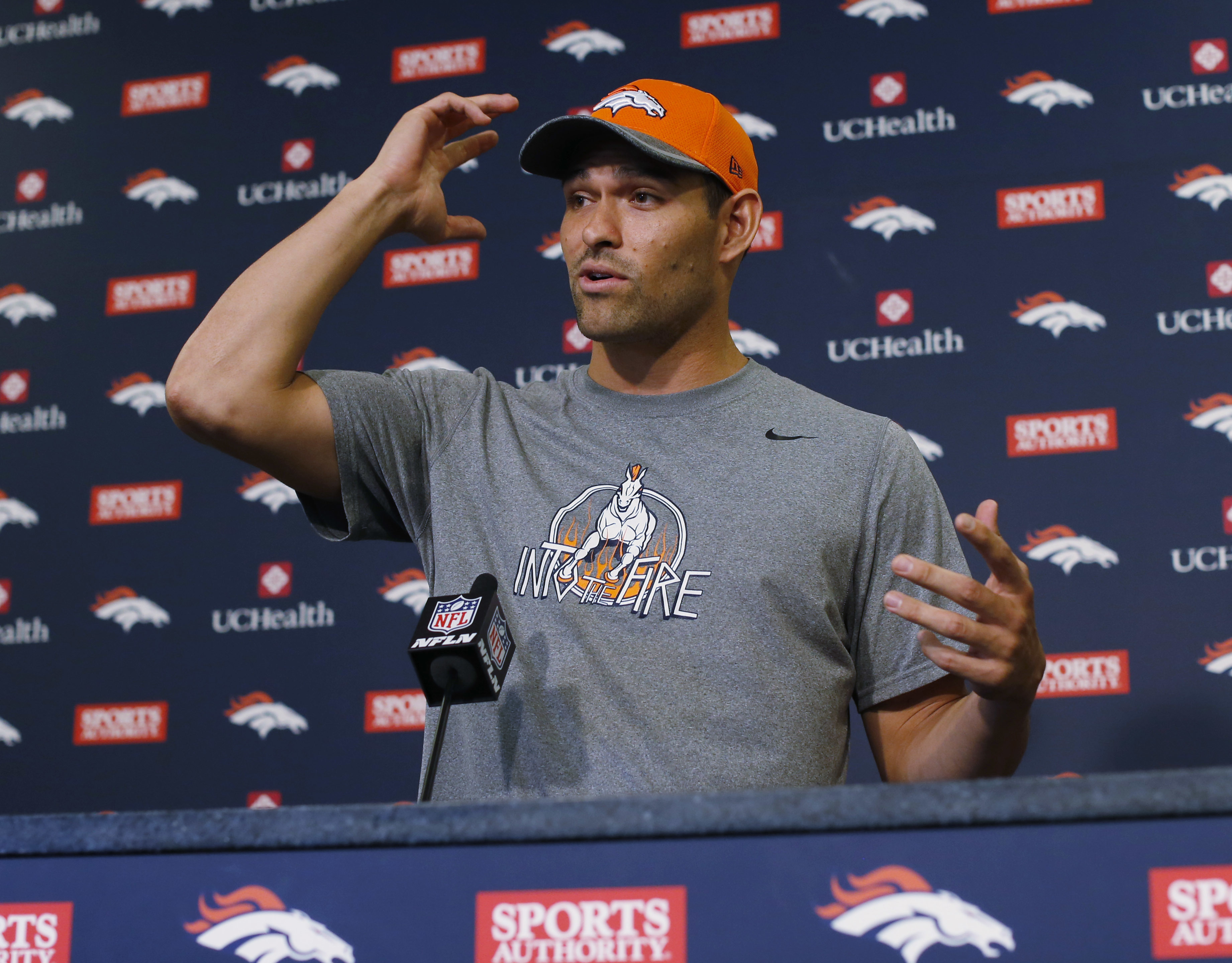 Denver Broncos quarterback Mark Sanchez responds to questions during a news conference Monday, May 2, 2016, at the team's headquarters in Englewood, Colo. (AP Photo/David Zalubowski)
