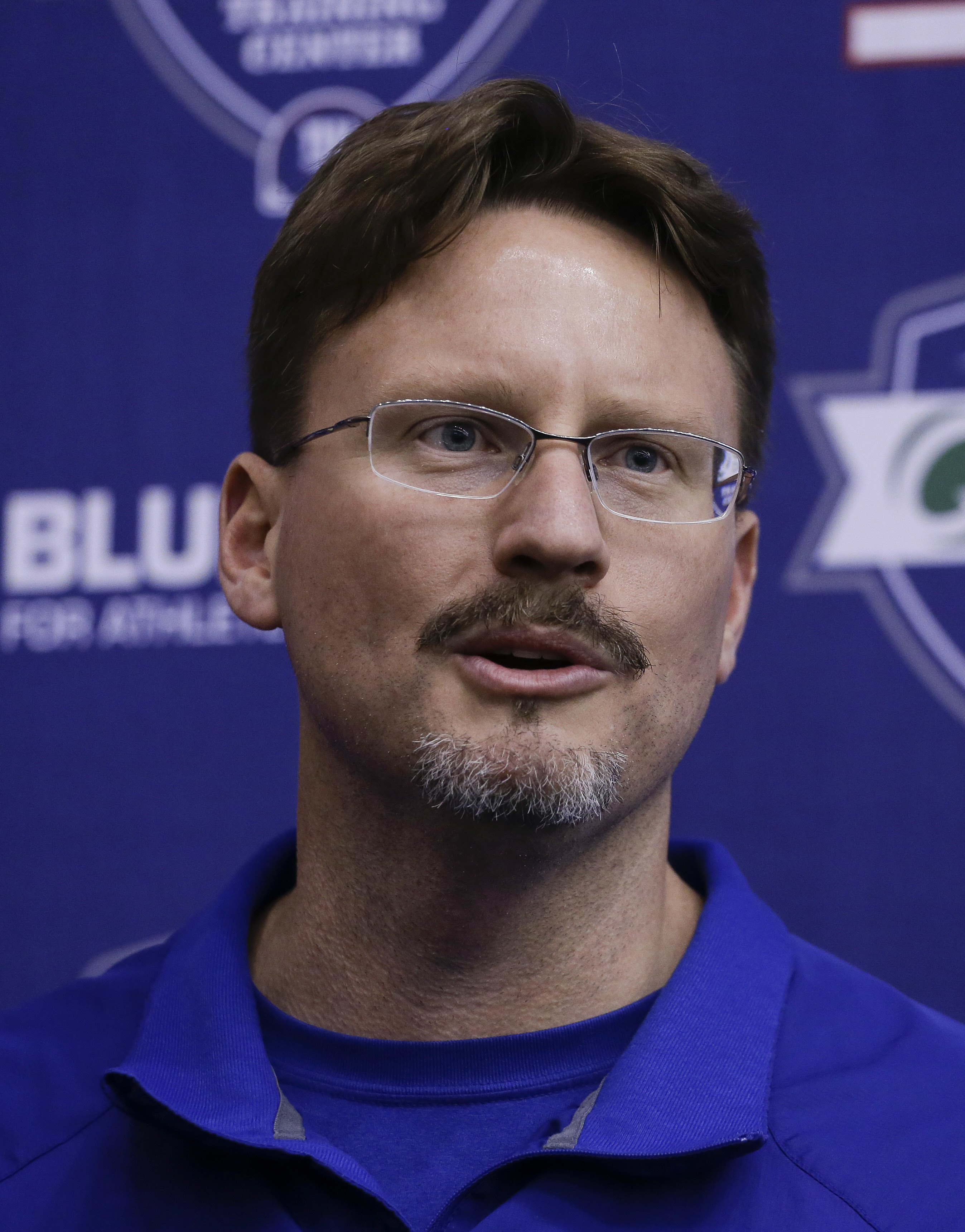 New York Giants head coach Ben McAdoo answers questions for members of the media after NFL football rookie camp, Friday, May 6, 2016, in, East Rutherford, N.J. (AP Photo/Julie Jacobson)
