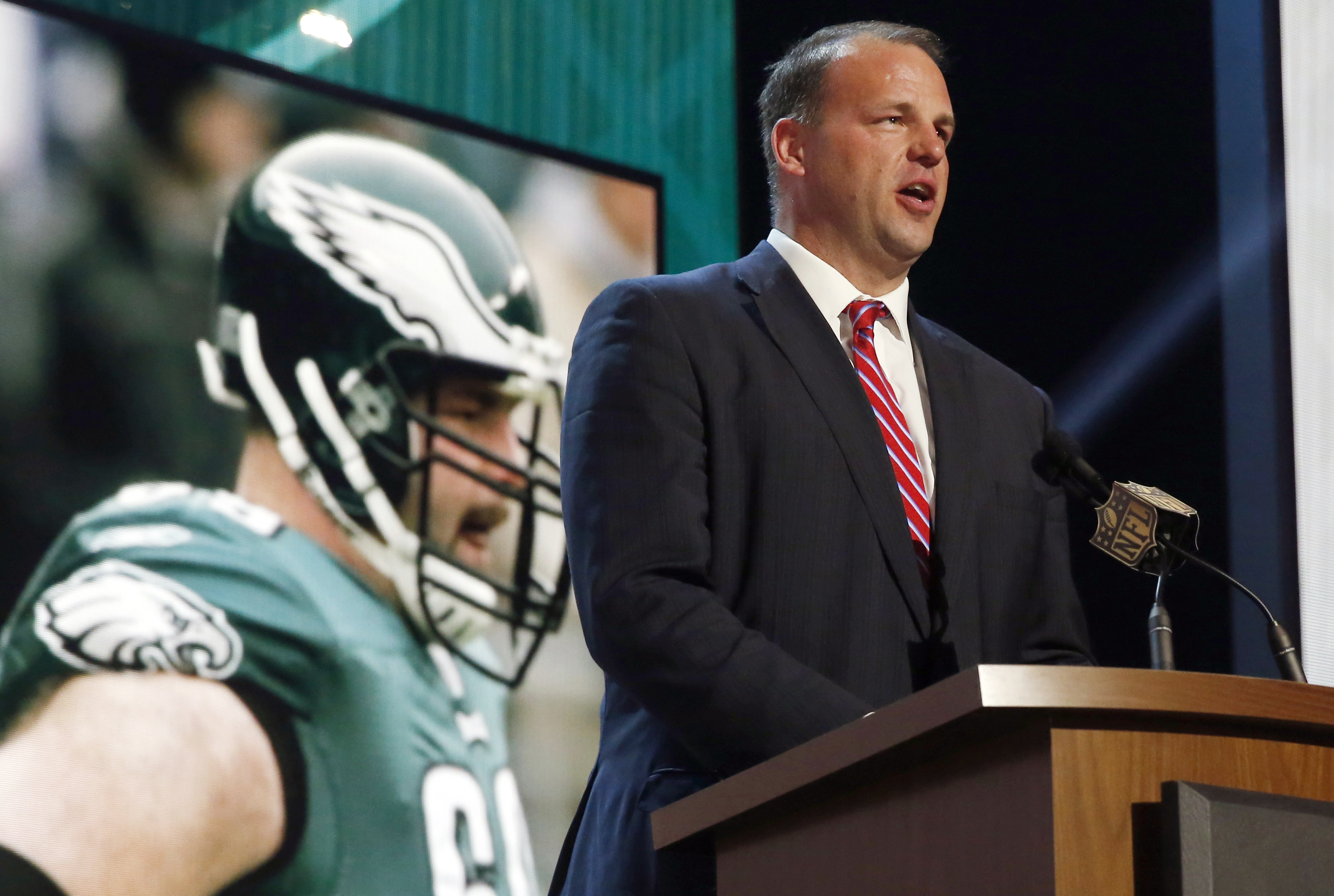 FILE - In this May 1, 2015, file photo, former NFL tackle and congressman Jon Runyan  announces that the Philadelphia Eagles selects Utah defensive back Eric Rowe as the 47th pick in the second round of the 2015 NFL Football Draft in Chicago. Runyan has b