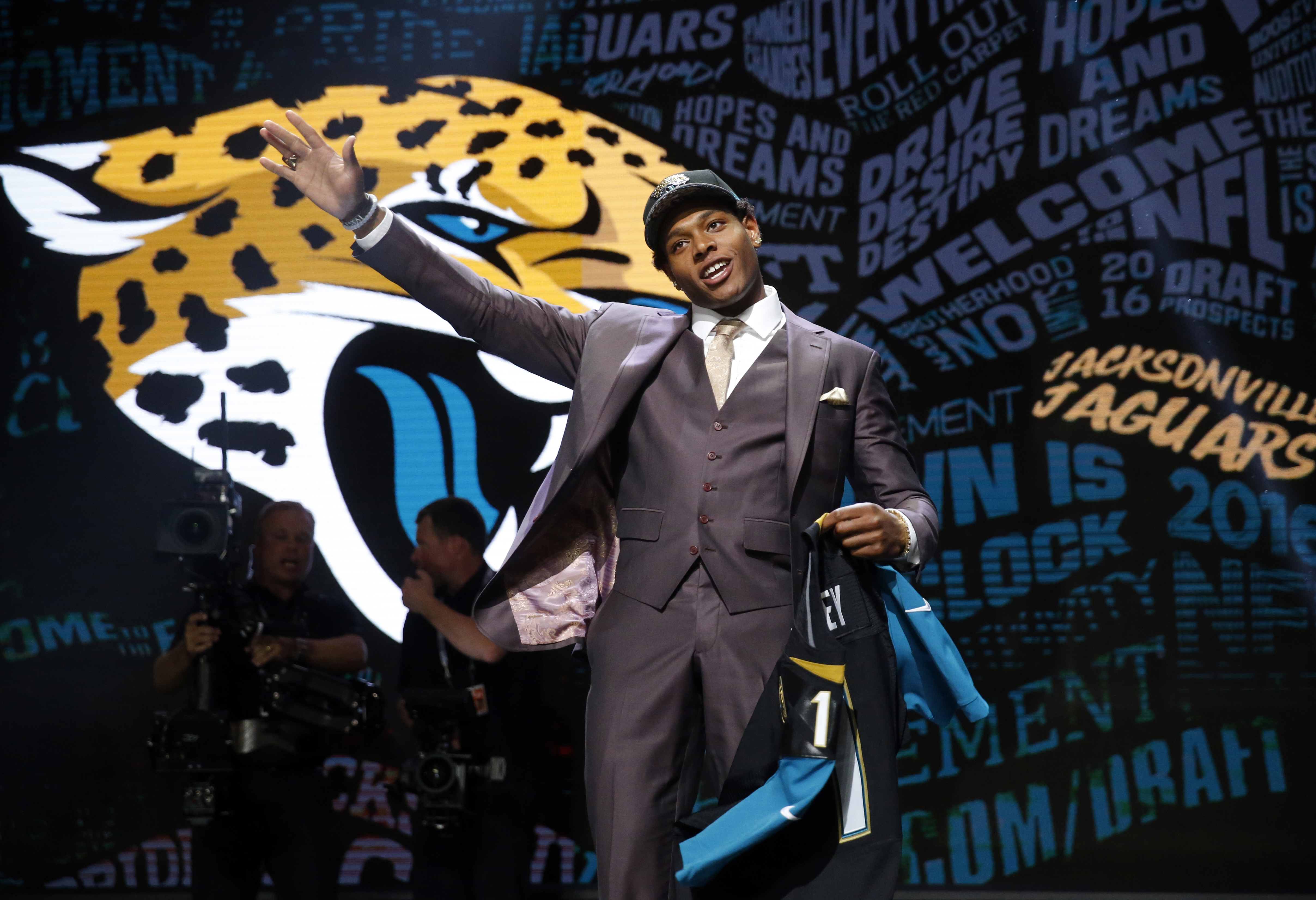 FILE - In this April 28, 2016, file photo, Florida State's Jalen Ramsey poses for photos after being selected by Jacksonville Jaguars as the fifth pick in the first round of the 2016 NFL football draft, in Chicago. Jaguars rookie cornerback Jalen Ramsey h