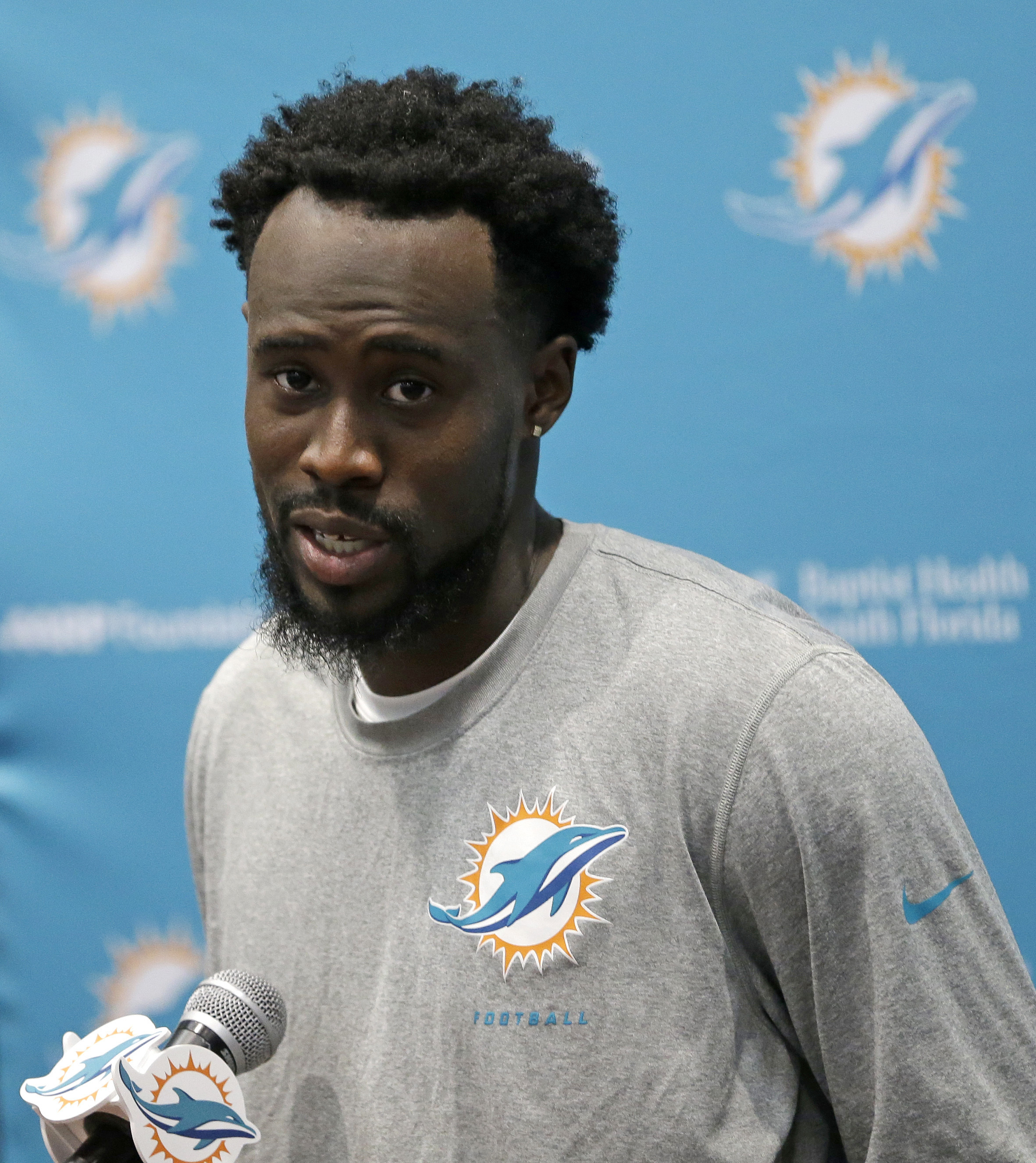 Miami Dolphins cornerback Tony Lippett talks to reporters after NFL football practice, Tuesday, May 24, 2016, in Davie. Fla. Tony Lippett played mostly receiver at Michigan State, but the second-year pro is now a contender for a starting job at cornerback