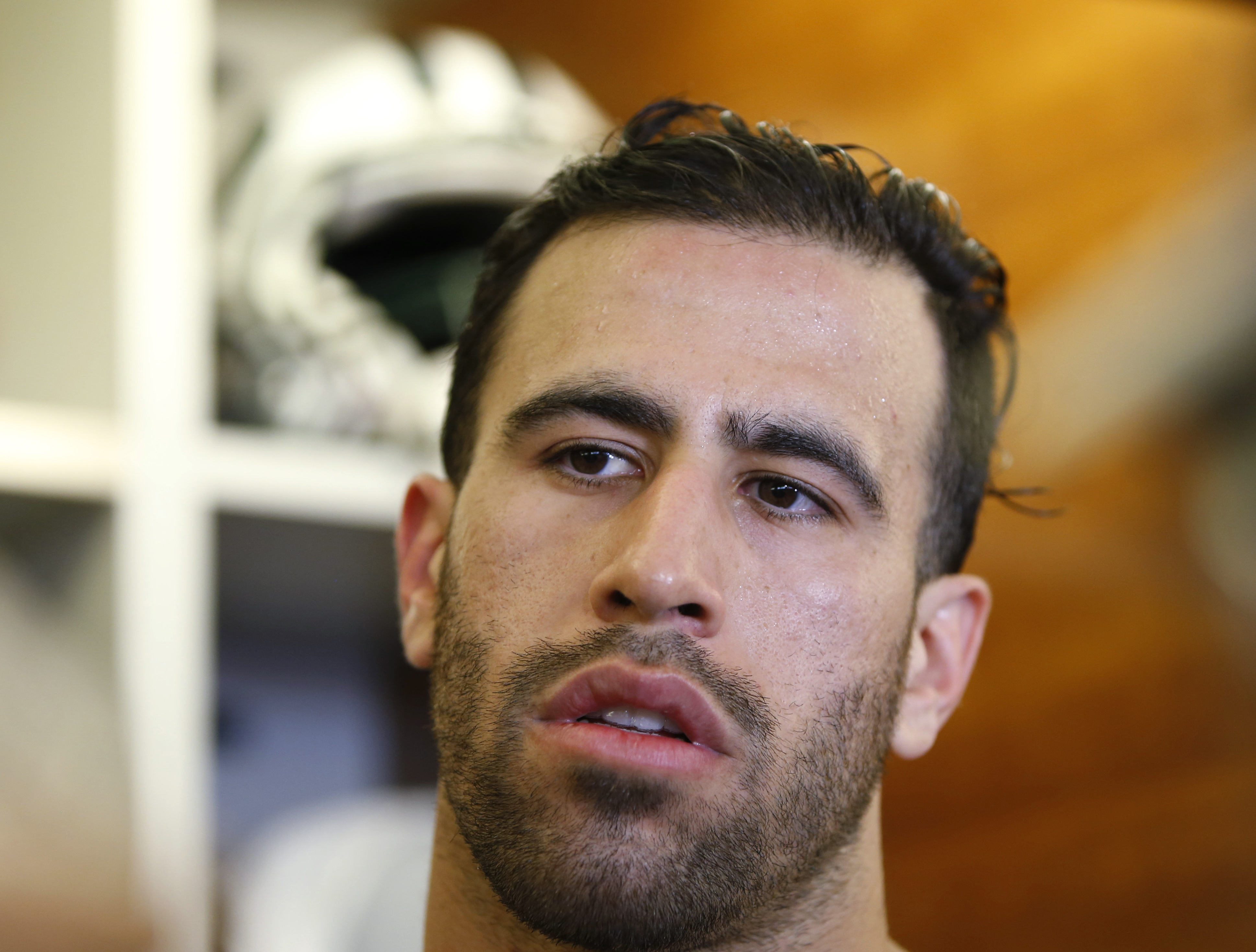 In this Wednesday, May 25, 2016, photo, New York Jets tight end Jace Amaro speaks to reporters after practice at the NFL football team's training facility in Florham Park, N.J. New York drafted Amaro in the second round in 2014 out of Texas Tech/ With his