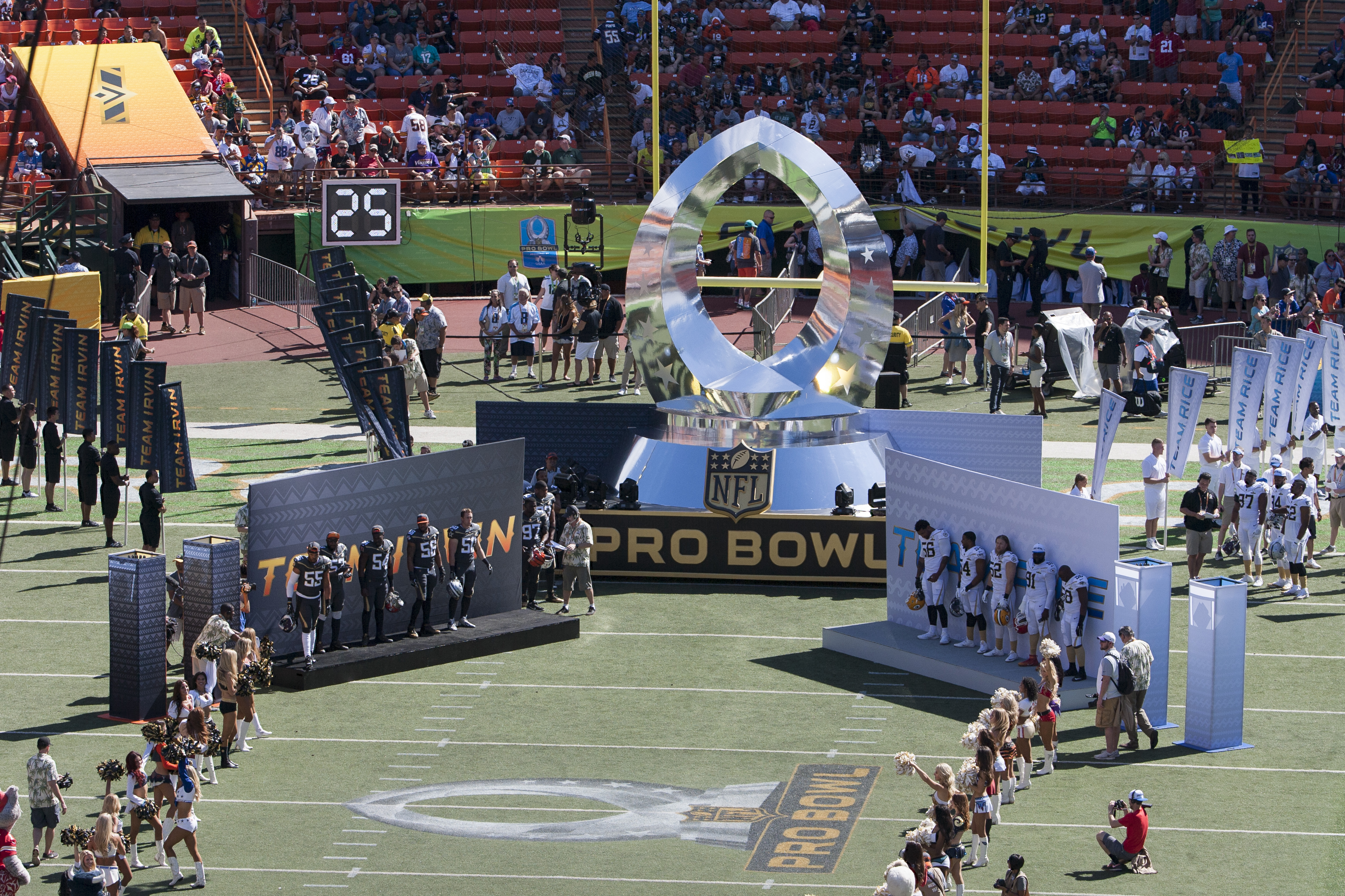 The all-star football players are introduced before the start of the NFL Pro Bowl football game, Sunday, Jan. 31, 2016, in Honolulu. (AP Photo/Eugene Tanner)