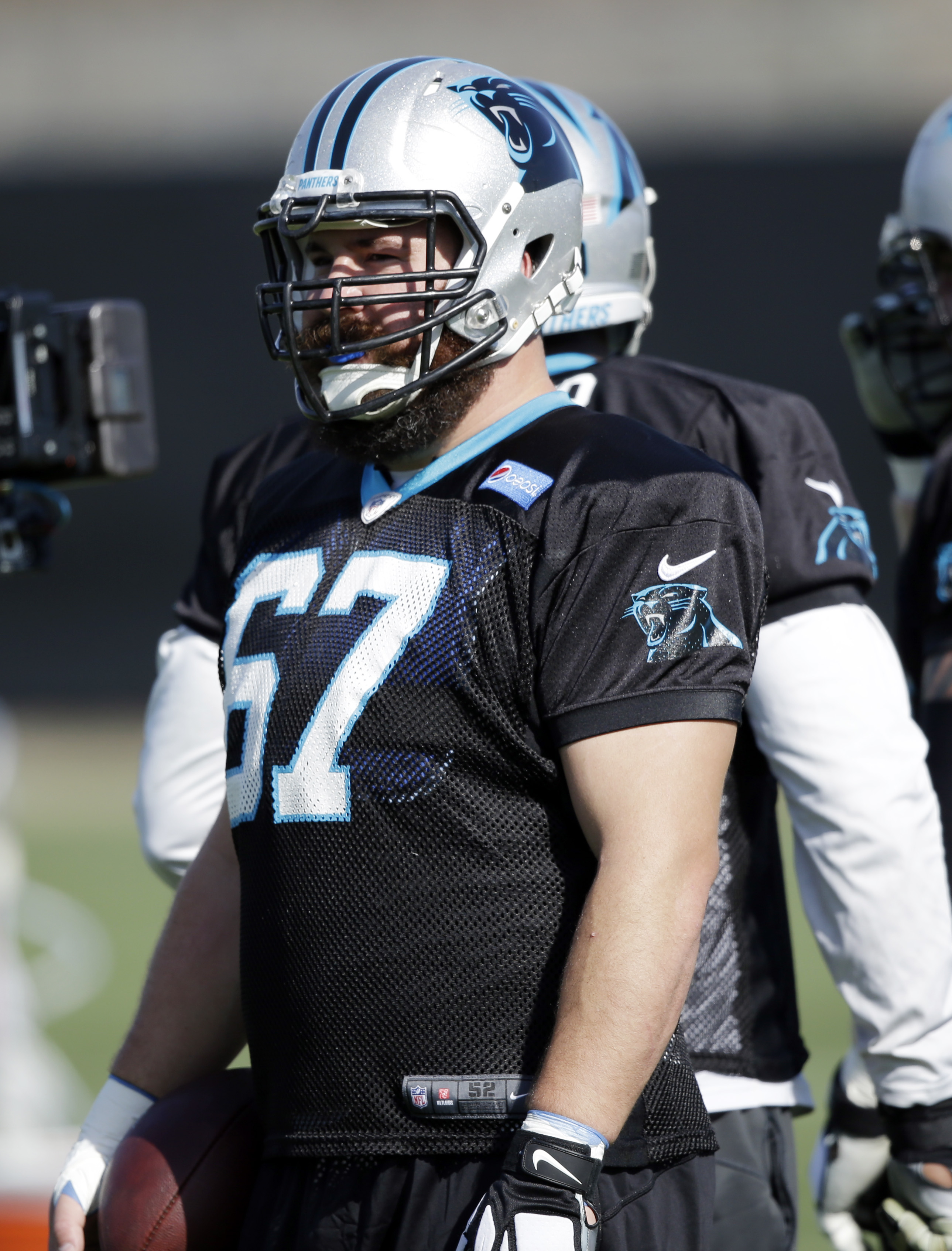 Carolina Panthers center Ryan Kalil (67) waits for a drill during practice in preparation for the Super Bowl 50 football game Friday Feb. 5, 2016 in San Jose, Calif. (AP Photo/Marcio Jose Sanchez)
