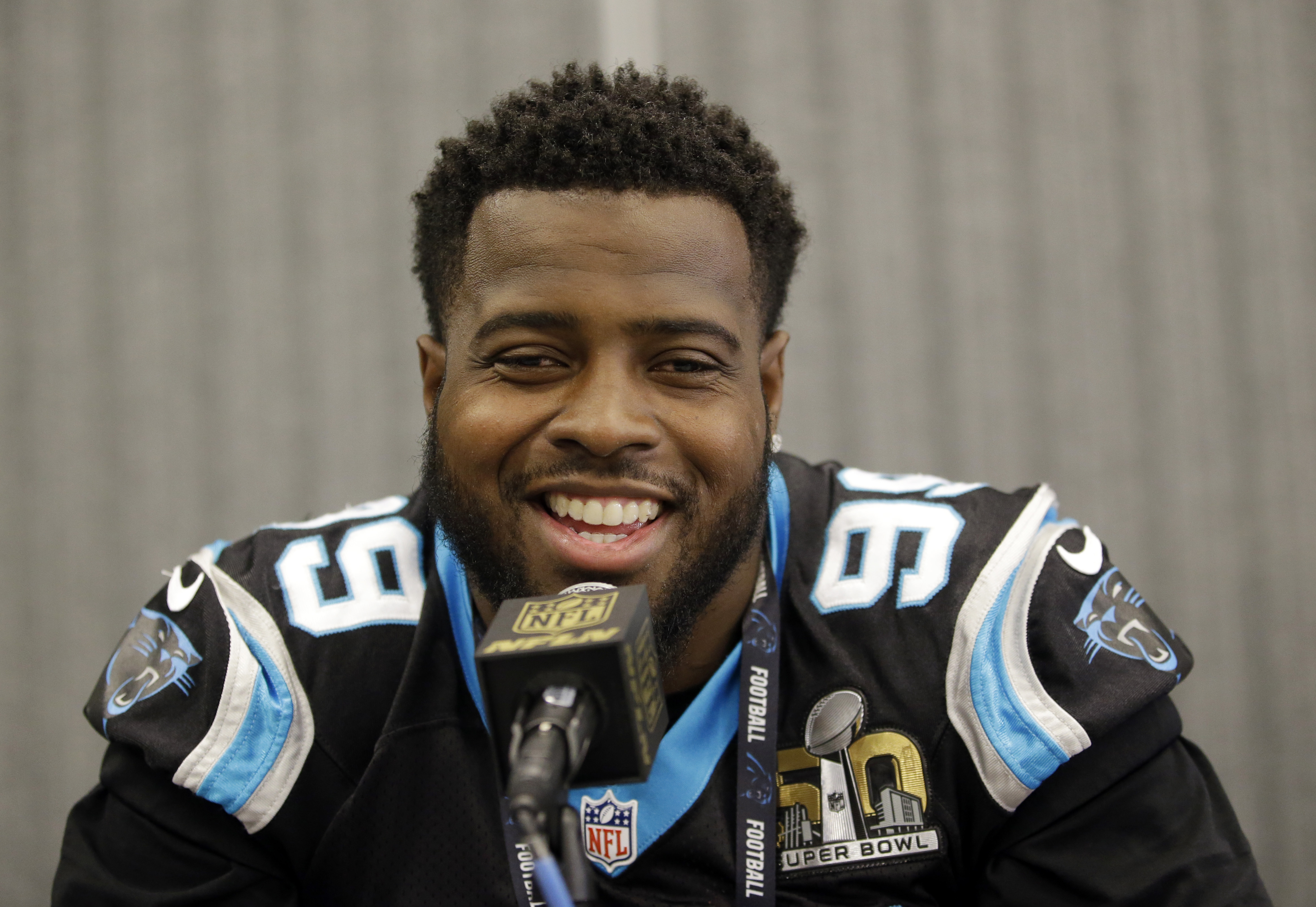 Carolina Panthers defensive tackle Kawann Short (99) answers questions during a press conference Wednesday, Feb. 3, 2016 in San Jose, Calif. Carolina plays the Denver Broncos in the NFL Super Bowl 50 football game Sunday, Feb. 7, 2015, in Santa Clara, Cal
