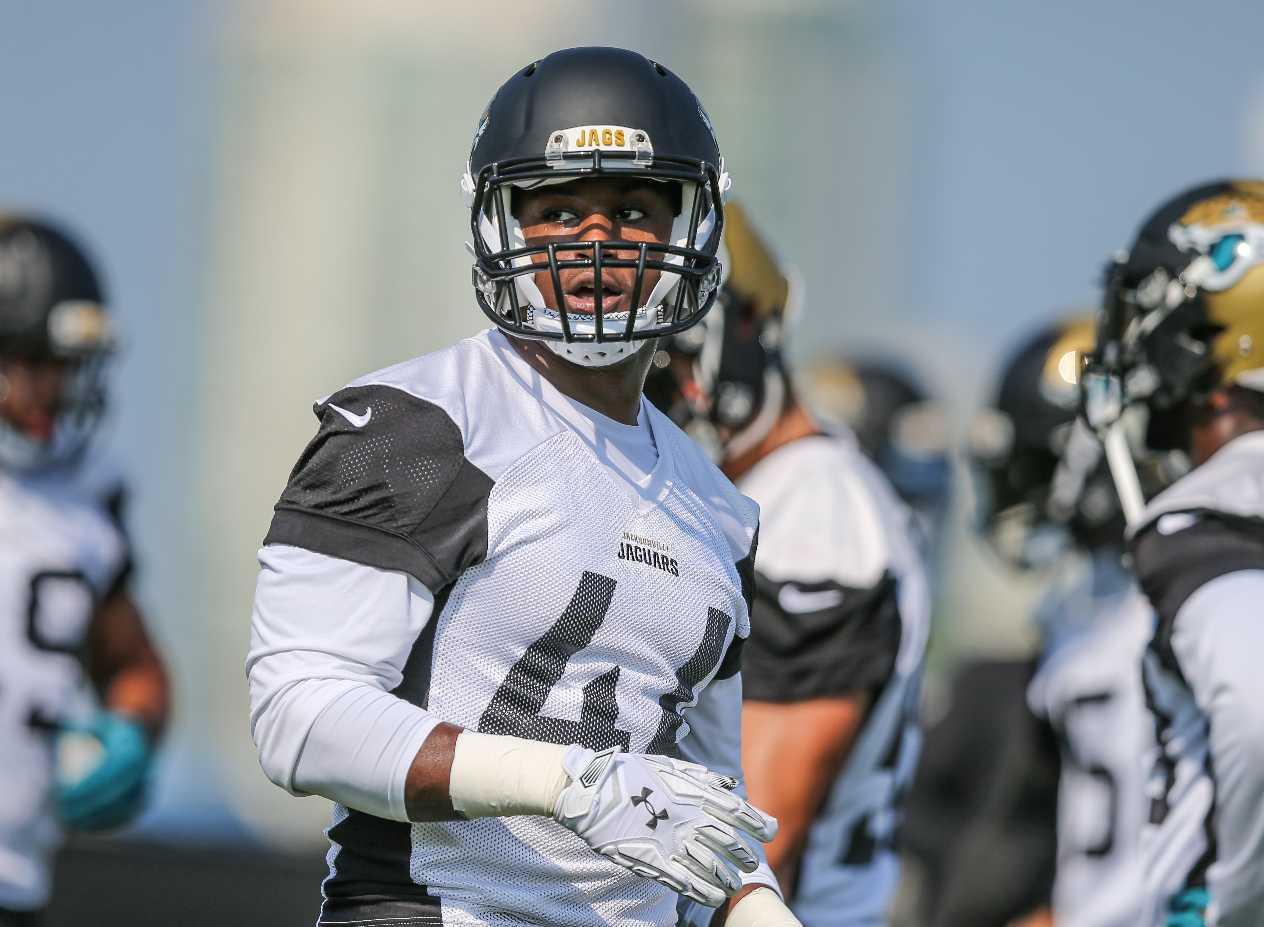Jacksonville Jaguar linebacker Myles Jack (44) looks around during a drill at NFL football minicamp practice on Tuesday, June 14, 2016 in Jacksonville, Fla. (AP Photo/Gary McCullough)