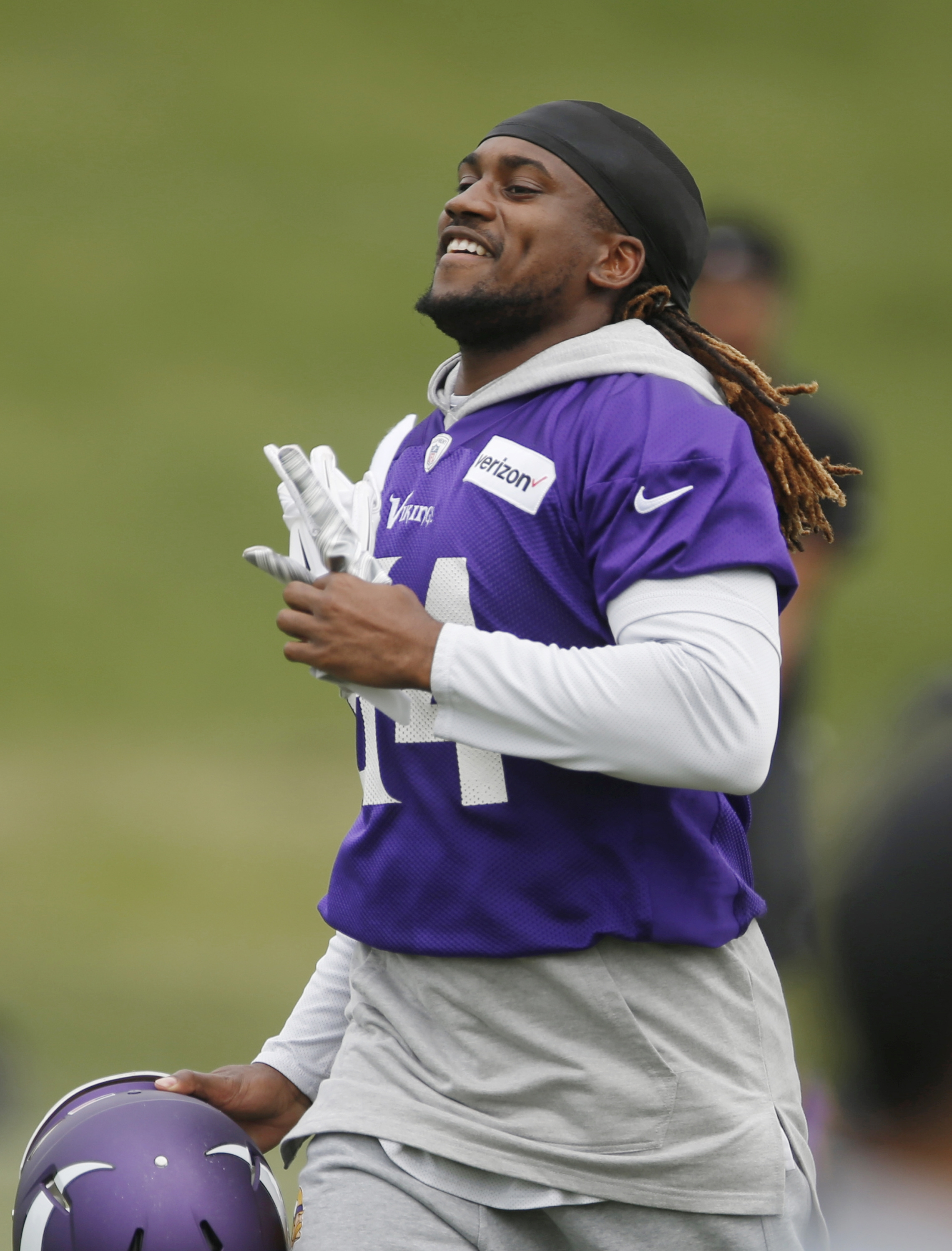 Minnesota Vikings wide receiver Cordarrelle Patterson runs to drills after calisthenics during the NFL football team's minicamp Tuesday, June 14, 2016, in Eden Prairie, Minn. The fifth-year option on his contract declined by the Vikings, Patterson faces a