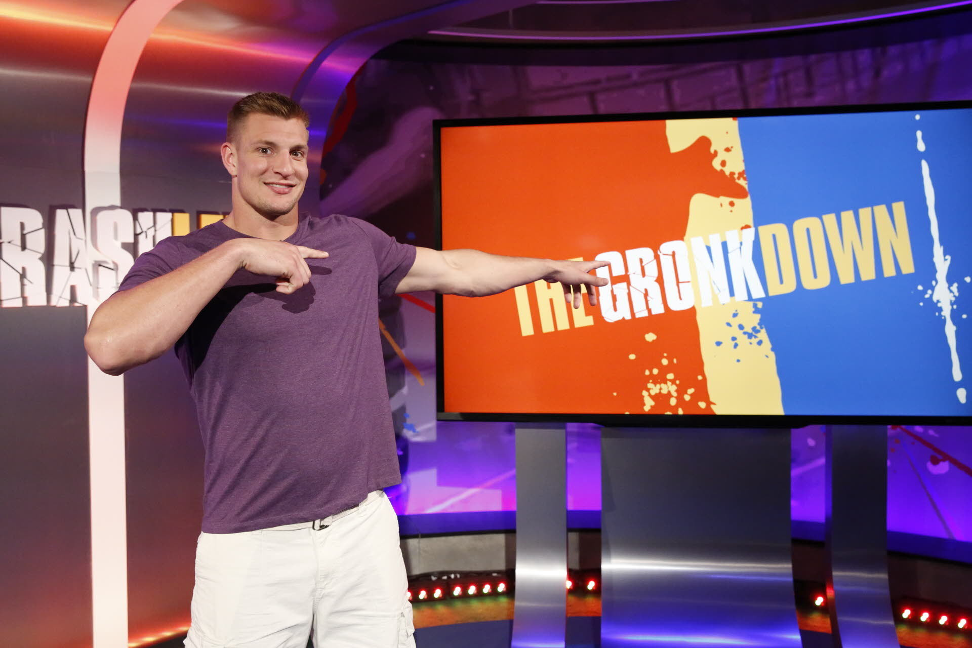 """In this March, 2016 photo provided by Nickelodeon, Rob Gronkowski hosts """"Crashletes,"""" in Los Angeles, debuting July 5, 2016 on Nickelodeon. The New England Patriots tight end will be the face of the show introducing popular viral videos of sports bloopers"""