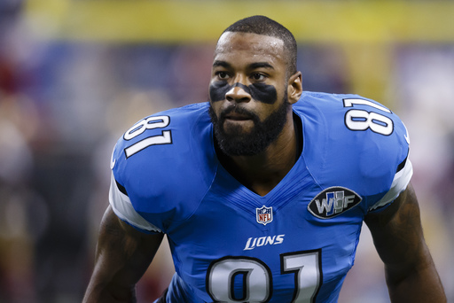 Detroit Lions wide receiver Calvin Johnson (81) during warm ups before an NFL football game against the San Francisco 49ers at Ford Field in Detroit, Sunday, Dec. 27, 2015. (AP Photo/Rick Osentoski)