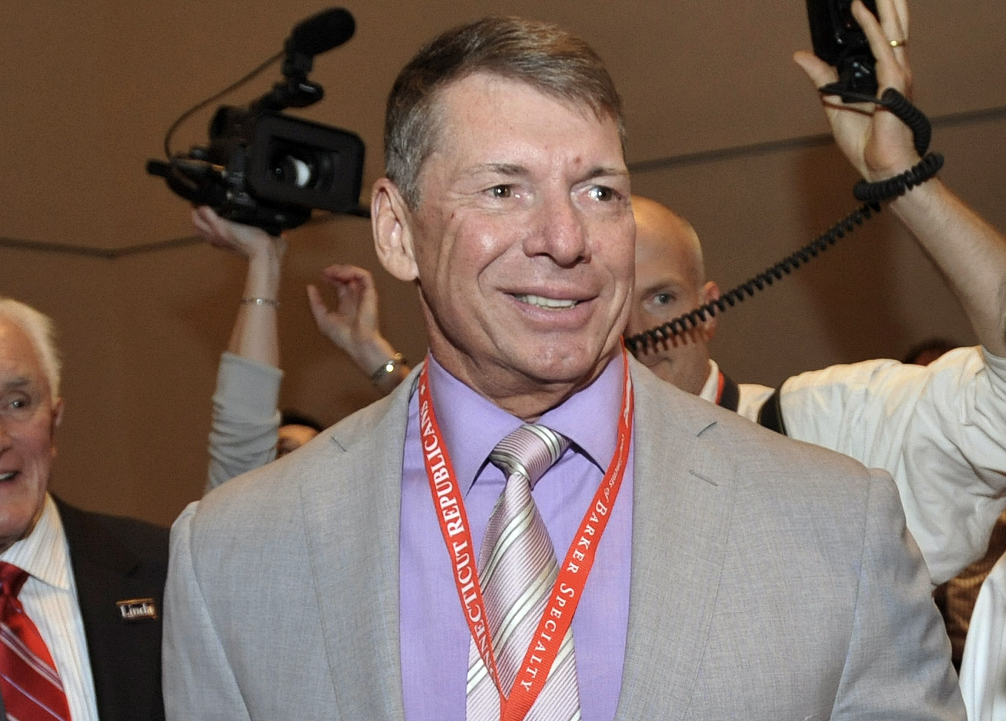 FILE - In this May 21, 2010, file photo, WWE Chairman and Chief Executive Officer Vince McMahon is shown at the Connecticut Republican Convention in Hartford, Conn. WWE announced Thursday, July 31, 2014, a new 10-year partnership with Rogers Communication
