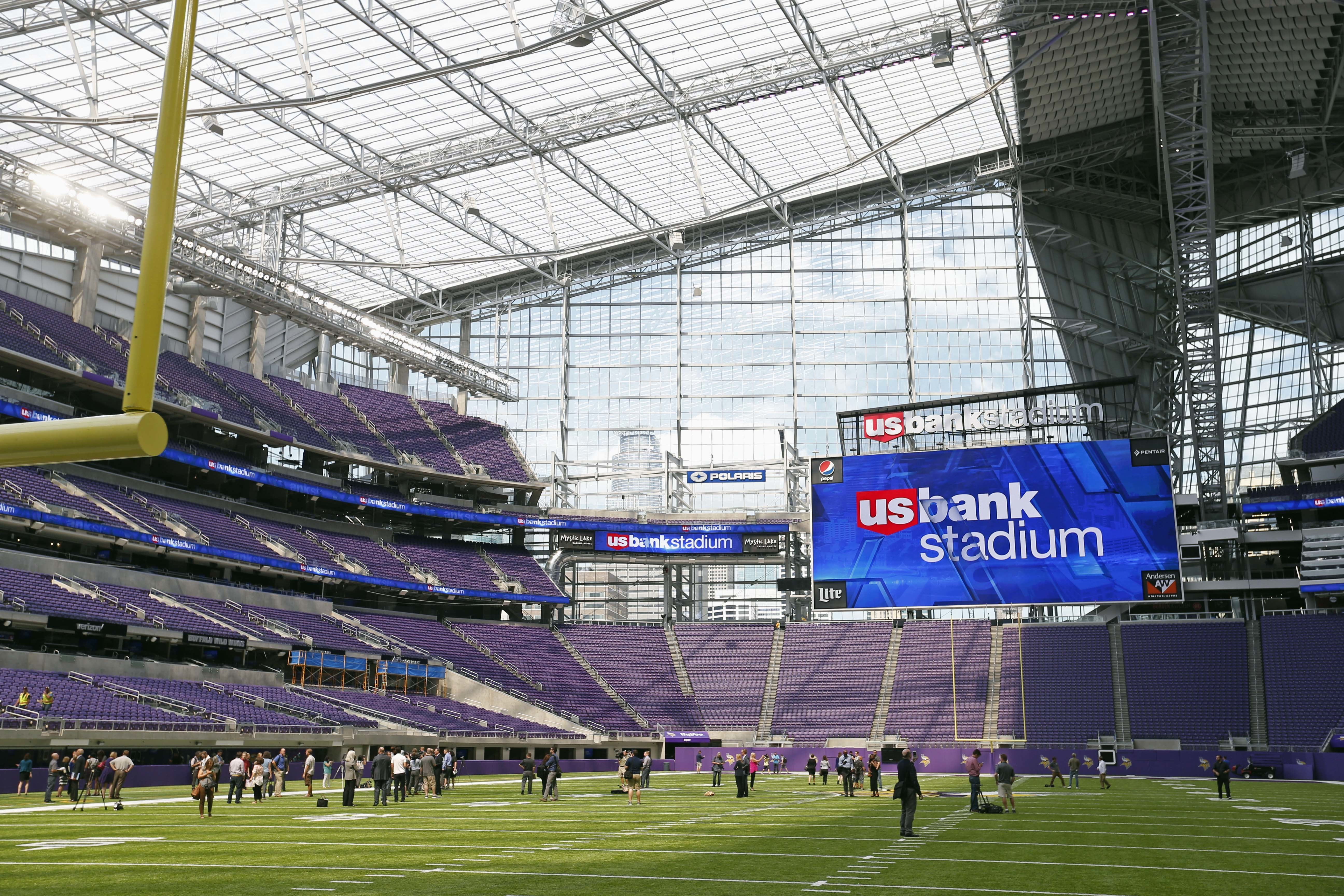 FILE - In this July 19, 2016, file photo, U.S. Bank Stadium, the Minnesota Vikings NFL football team's new stadium, is seen during a media tour in Minneapolis. ESPN's X Games will be held in Minneapolis in 2017 and 2018, with many of the events being held