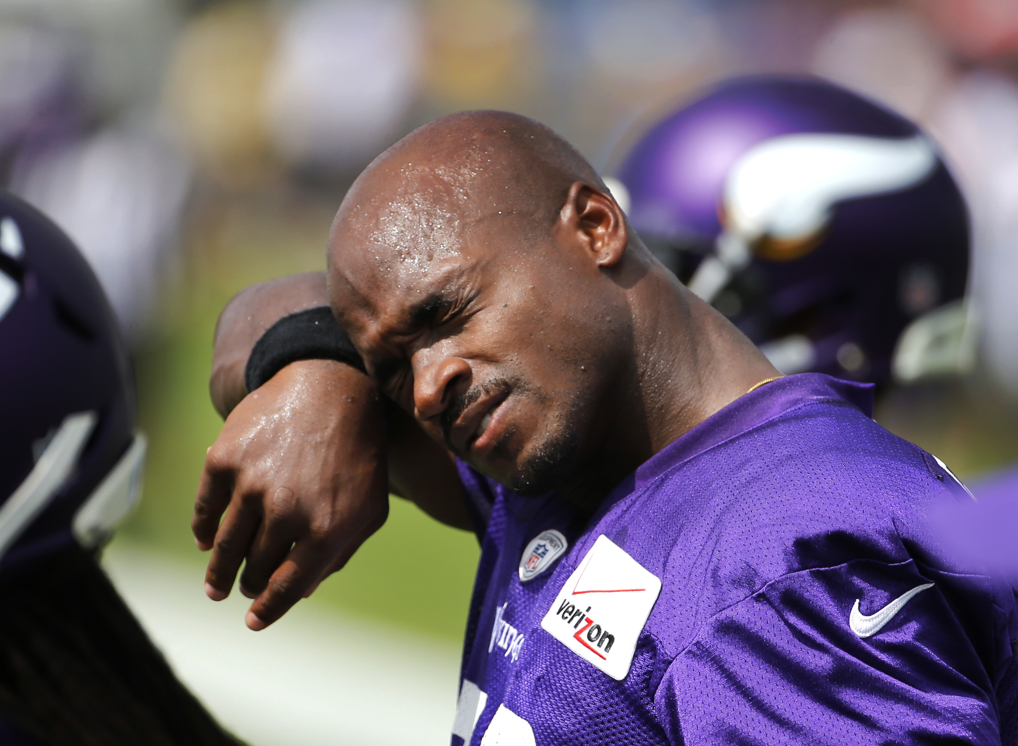 FILE - In this July 27, 2015, file photo, Minnesota Vikings running back Adrian Peterson wipes the sweat from his face during NFL football training camp in Mankato, Minn. Arrival at the familiar site of dorm room life, two-a-day workouts and overall drudg