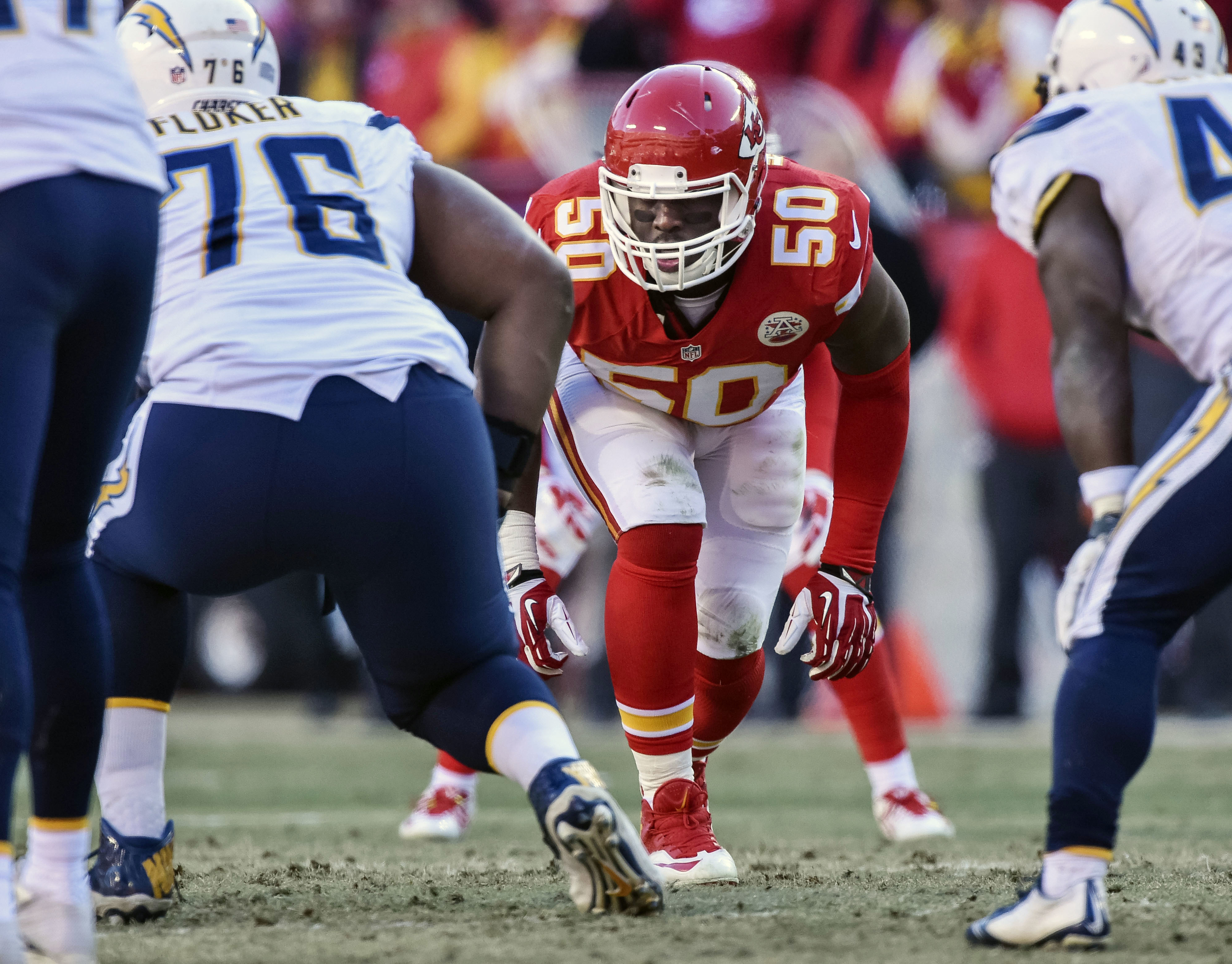 FILE- In this Dec. 28, 2014, file photo, Kansas City Chiefs outside linebacker Justin Houston (50) prepares to rush against the San Diego Chargers during the second half of their NFL football game in Kansas City, Mo. After having surgery on his left ACL,