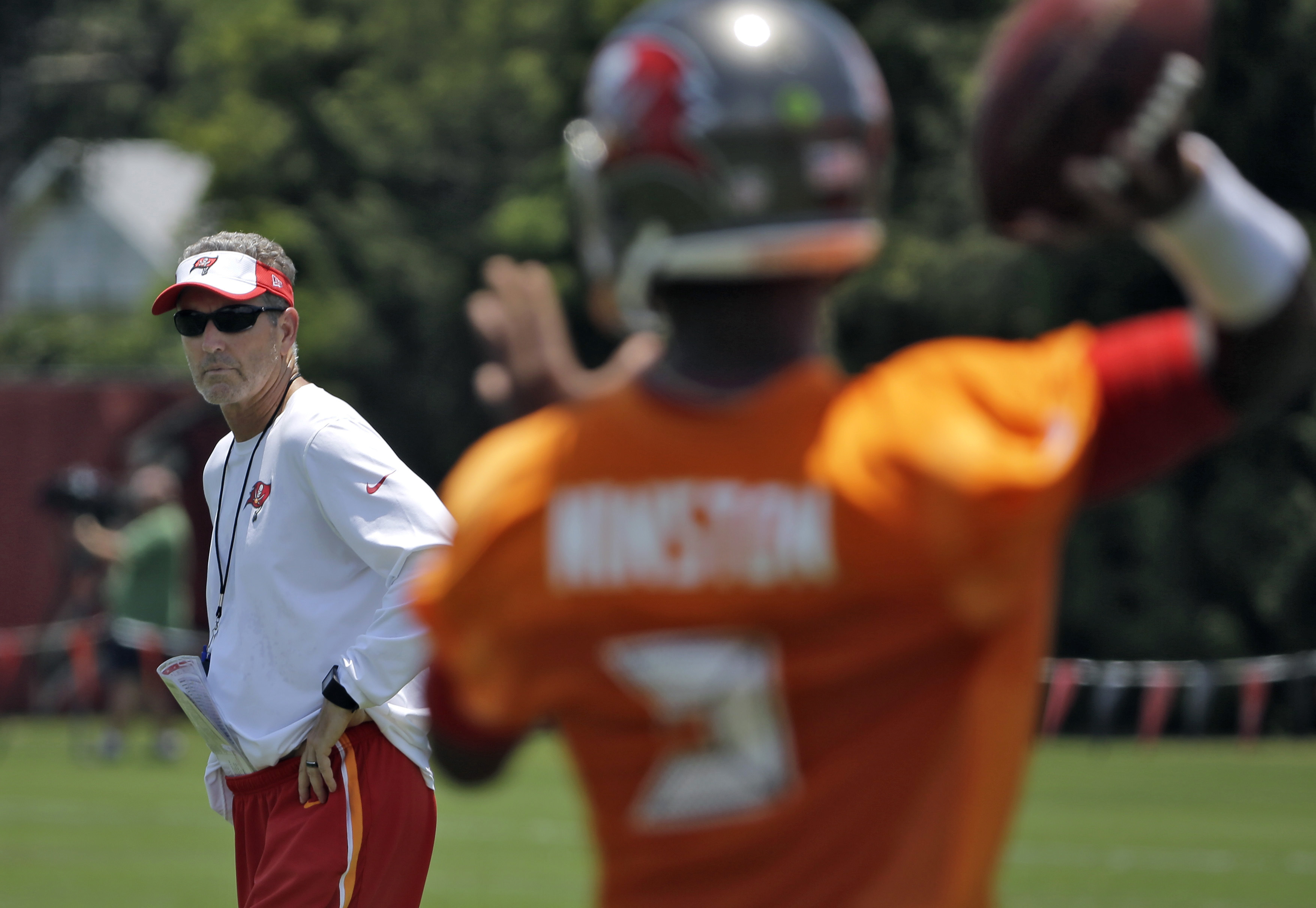 FILE - In this June 14, 2016, file photo, Tampa Bay Buccaneers head coach Dirk Koetter, left, watches as quarterback Jameis Winston (3) throws a pass during an NFL football minicamp  in Tampa, Fla. Former offensive coordinator Koetter was promoted, in par