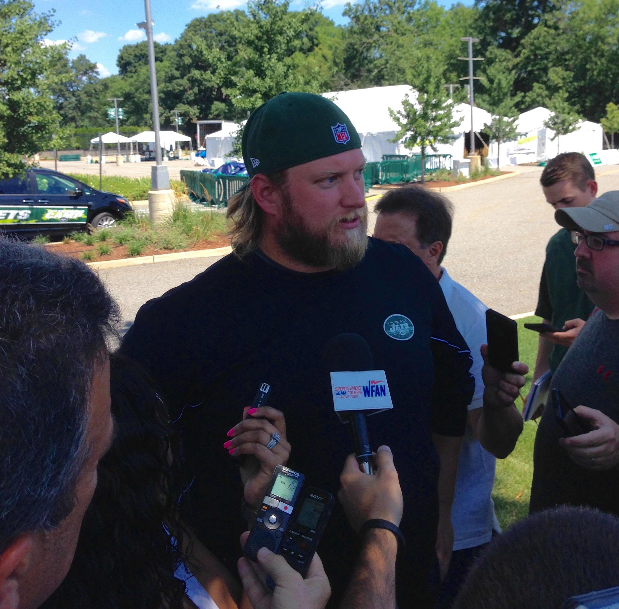 New York Jets center Nick Mangold  talks to the media Wednesday, July 27, 2016, at Atlantic Health Jets Training Center in Florham Park, New Jersey. (AP Photo/Dennis Waszak)