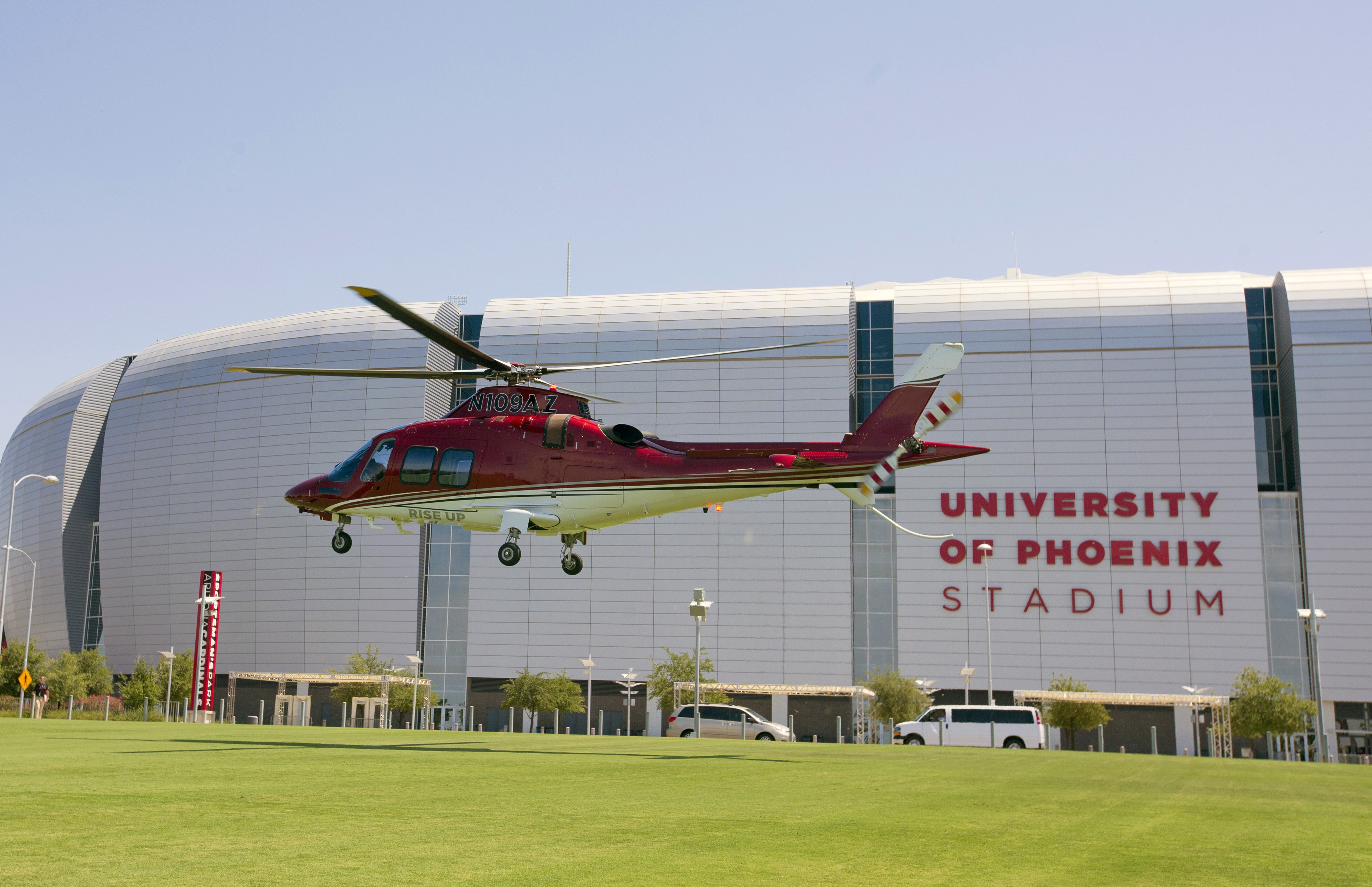 Arizona Cardinals' Patrick Peterson arrives by helicopter for first day of training camp at University of Phoenix Stadium in Glendale, Ariz., Thursday, July 28, 2016. (Cheryl Evans/The Arizona Republic via AP)