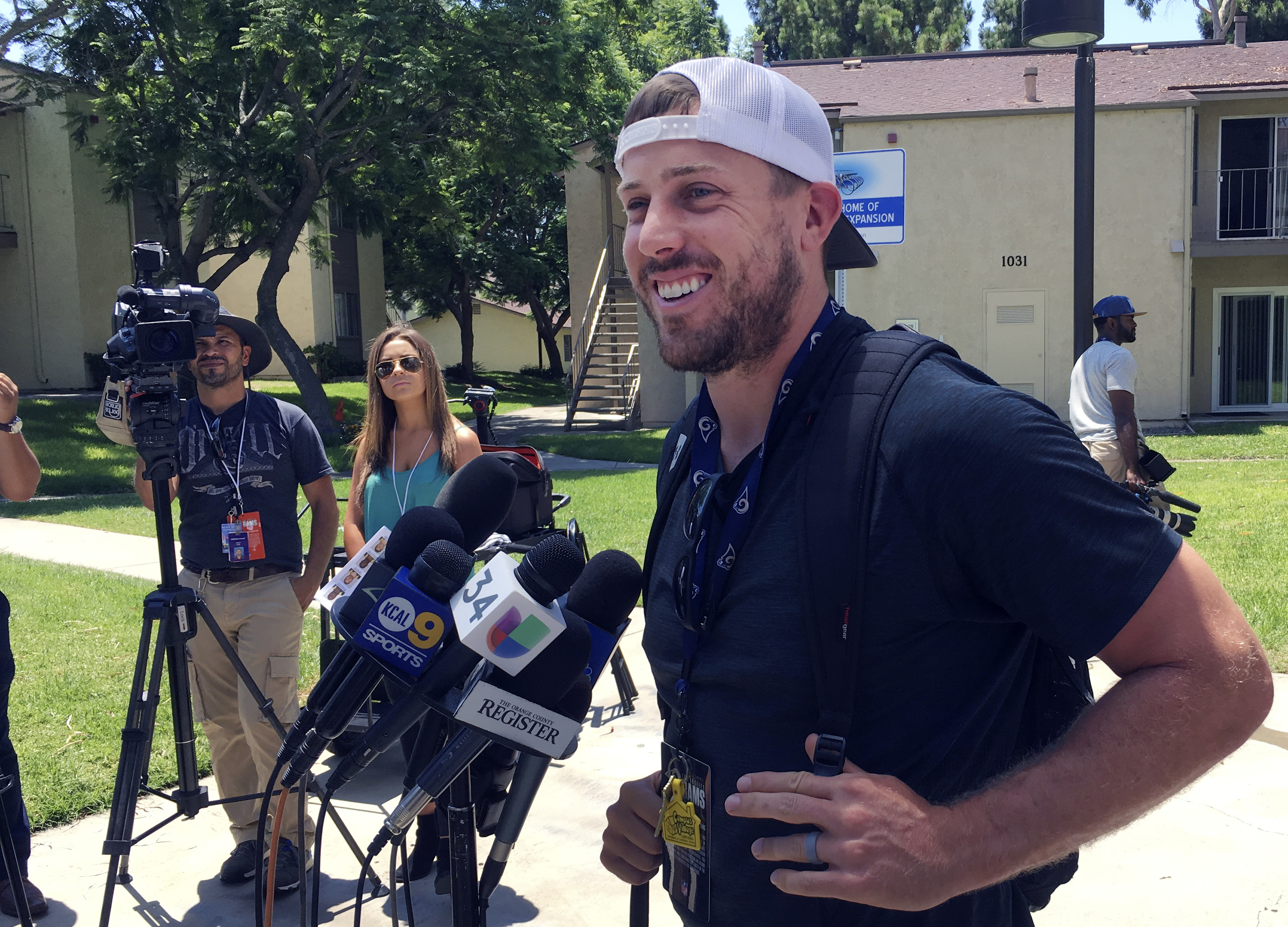 Rams quarterback Case Keenum talks to the media after reporting to training camp in Irvine, Calif. on Thursday, July 28,2016. The Los Angeles Rams' veterans gathered in Orange County for the start of a five-week residency at UC Irvine while their permanen