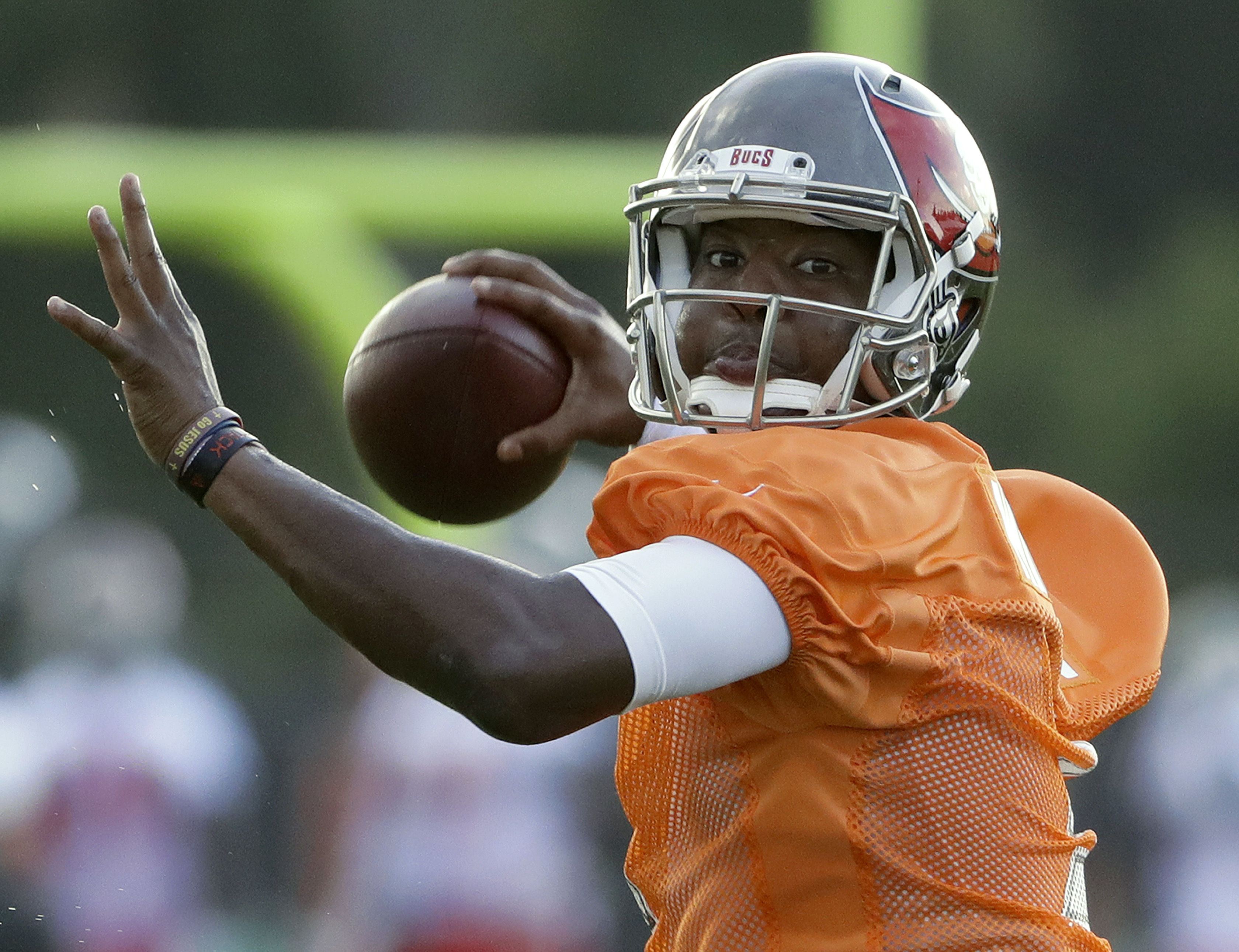Tampa Bay Buccaneers quarterback Jameis Winston (3) throws a pass during an NFL football teams training camp practice Friday, July 29, 2016, in Tampa, Fla. (AP Photo/Chris O'Meara)