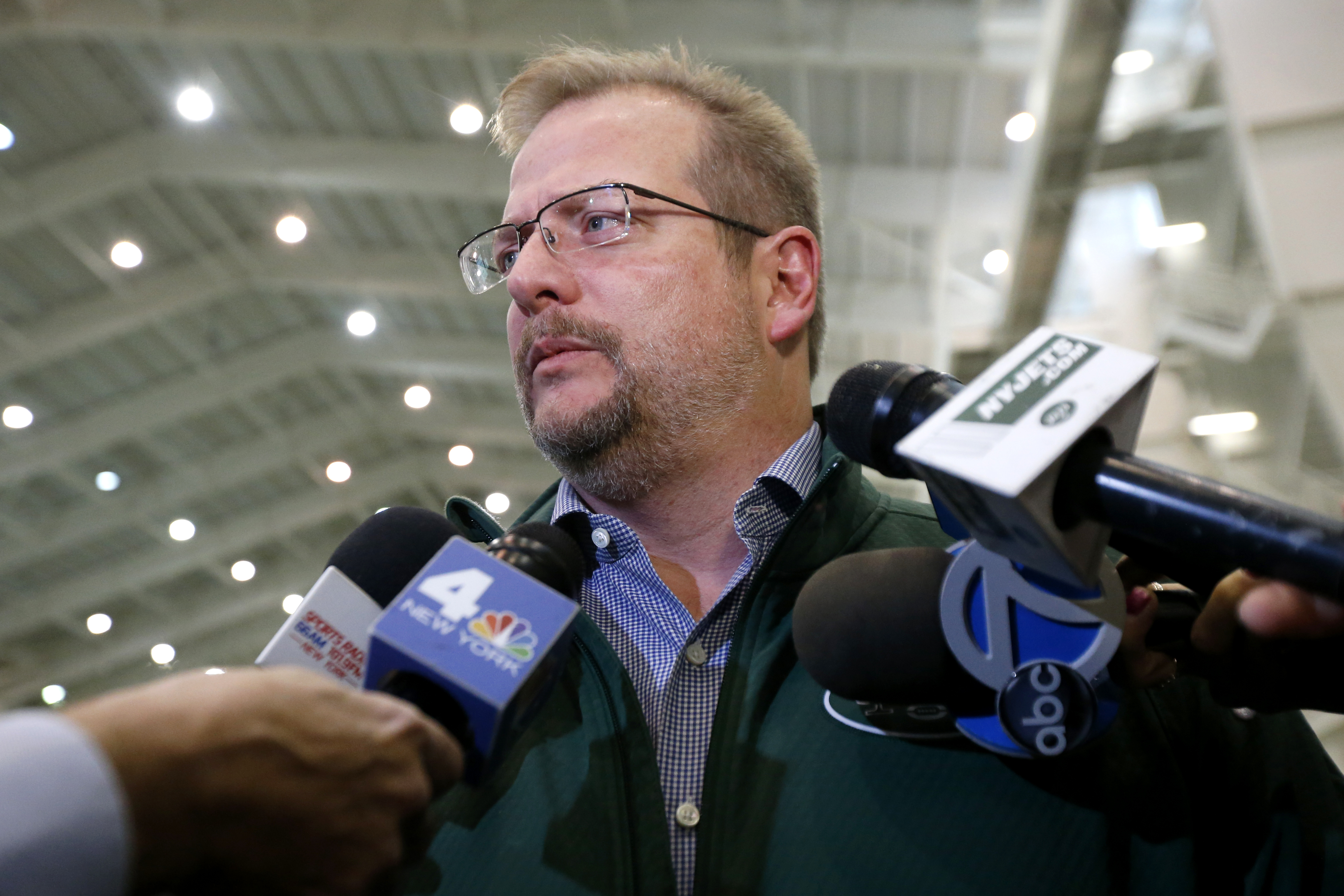FILE - In this Jan. 14, 2016, file photo, New York Jets general manager Mike Maccagnan speaks to reporters at the team's NFL football training center in Florham Park, N.J. Maccagnan allowed himself to celebrate for a moment once he knew that Ryan Fitzpatr