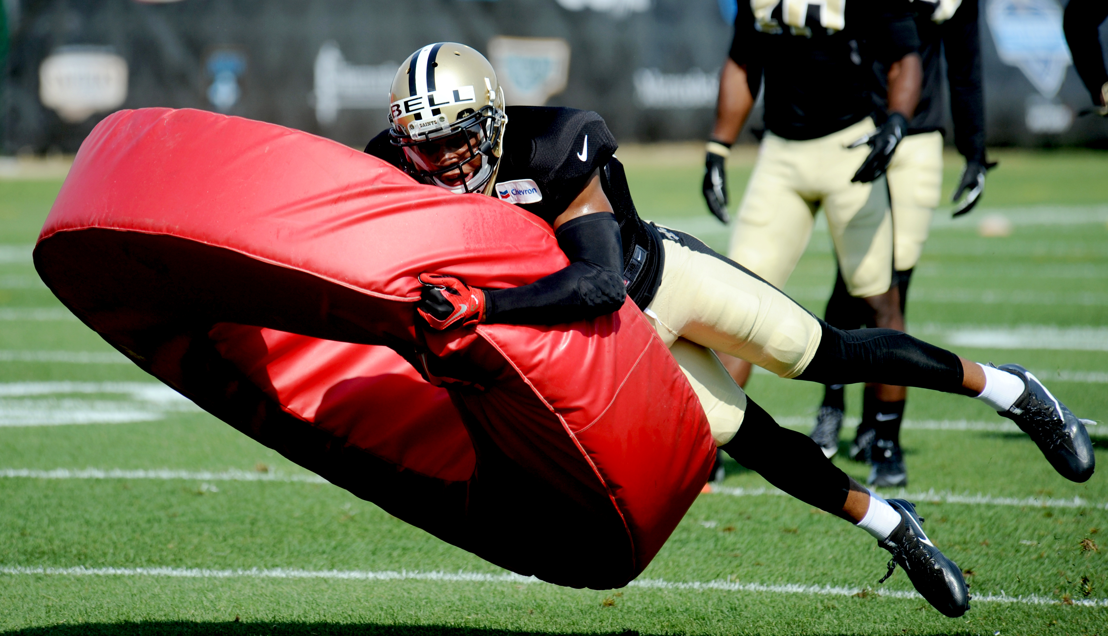 New Orleans Saints wide receiver Reggie Bell practices during the NFL football team's training camp in White Sulphur Springs, W.Va., Saturday, July 30, 2016. (AP Photo/Chris Tilley)