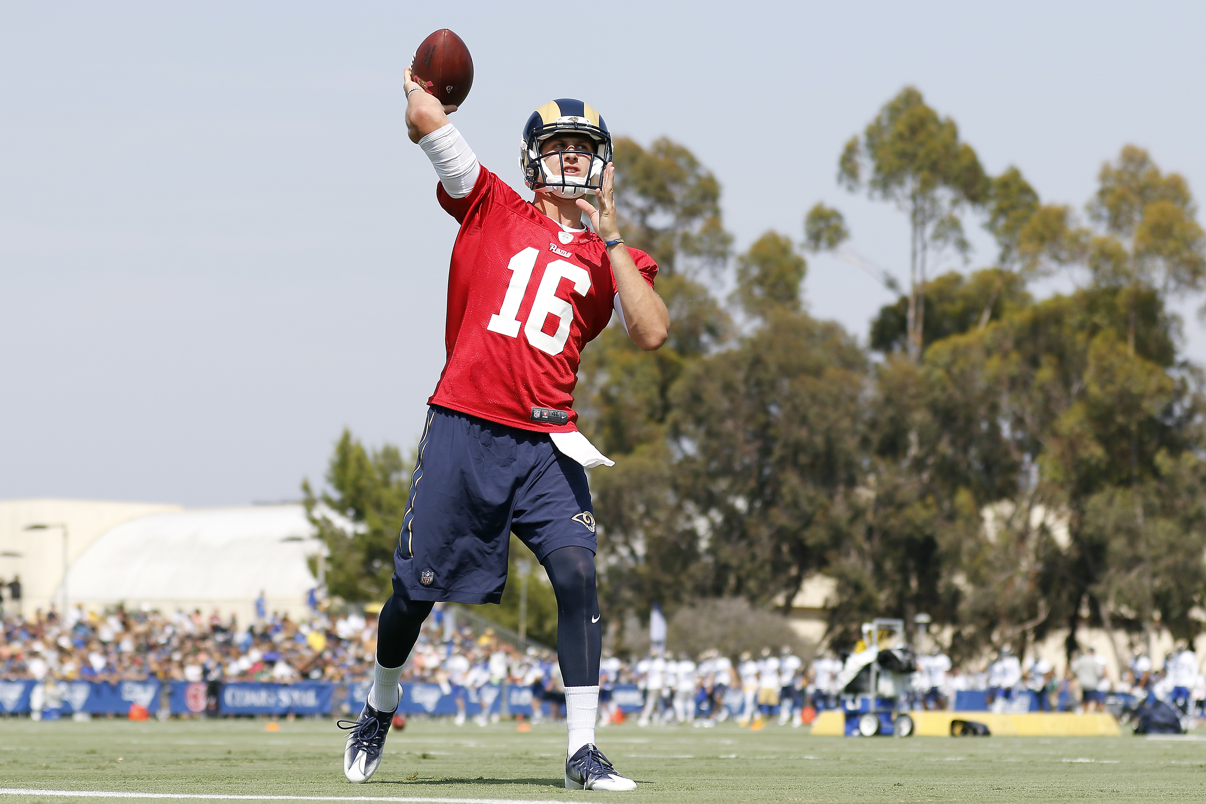 Los Angeles Rams quarterback Jared Goff throws during the NFL football team's training camp, Saturday, July 30, 2016, in Irvine, Calif. (AP Photo/Ryan Kang)