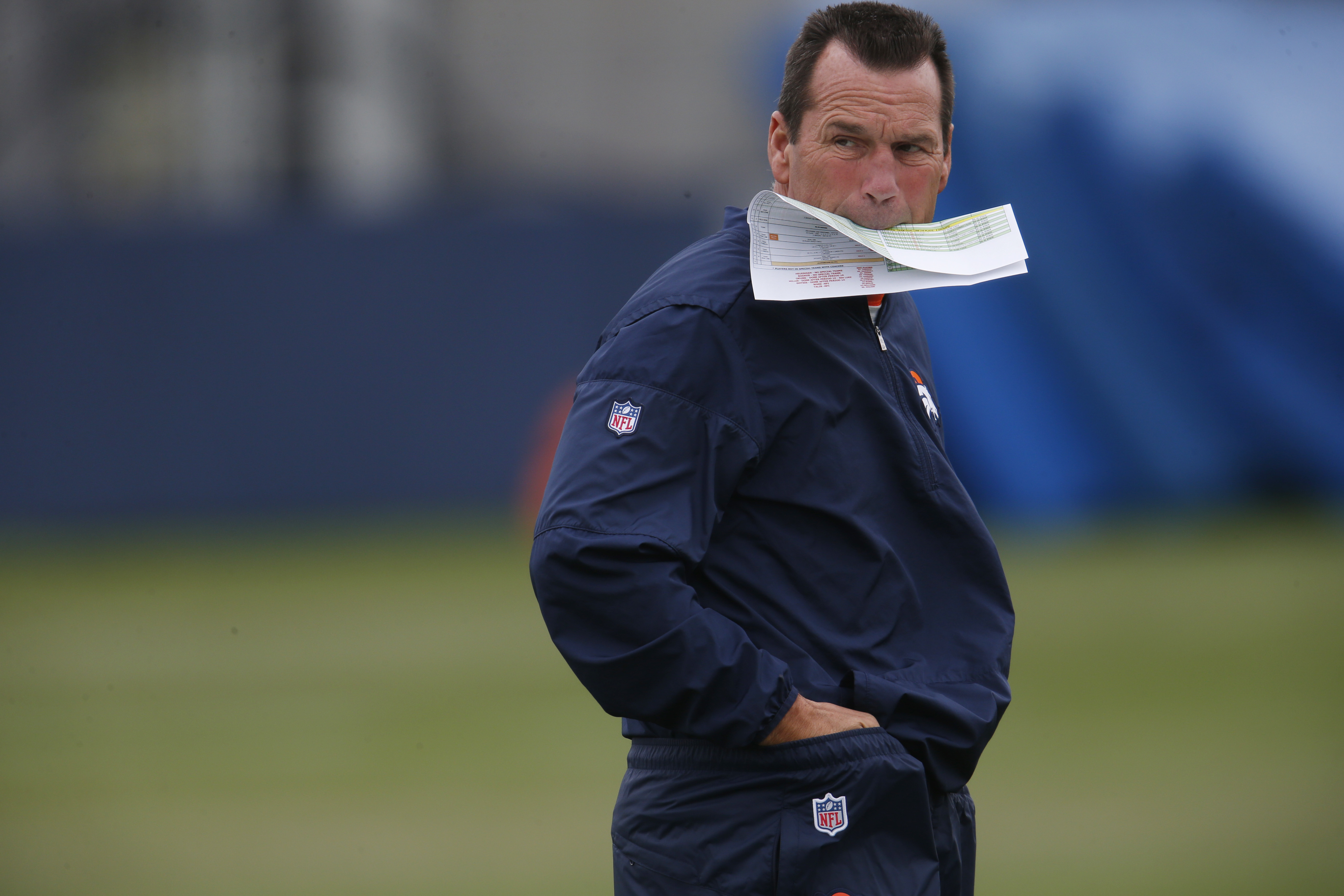 Denver Broncos head coach Gary Kubiak looks on during drills at the team's NFL football training camp Friday, Aug. 5, 2016 in Englewood, Colo. (AP Photo/David Zalubowski)
