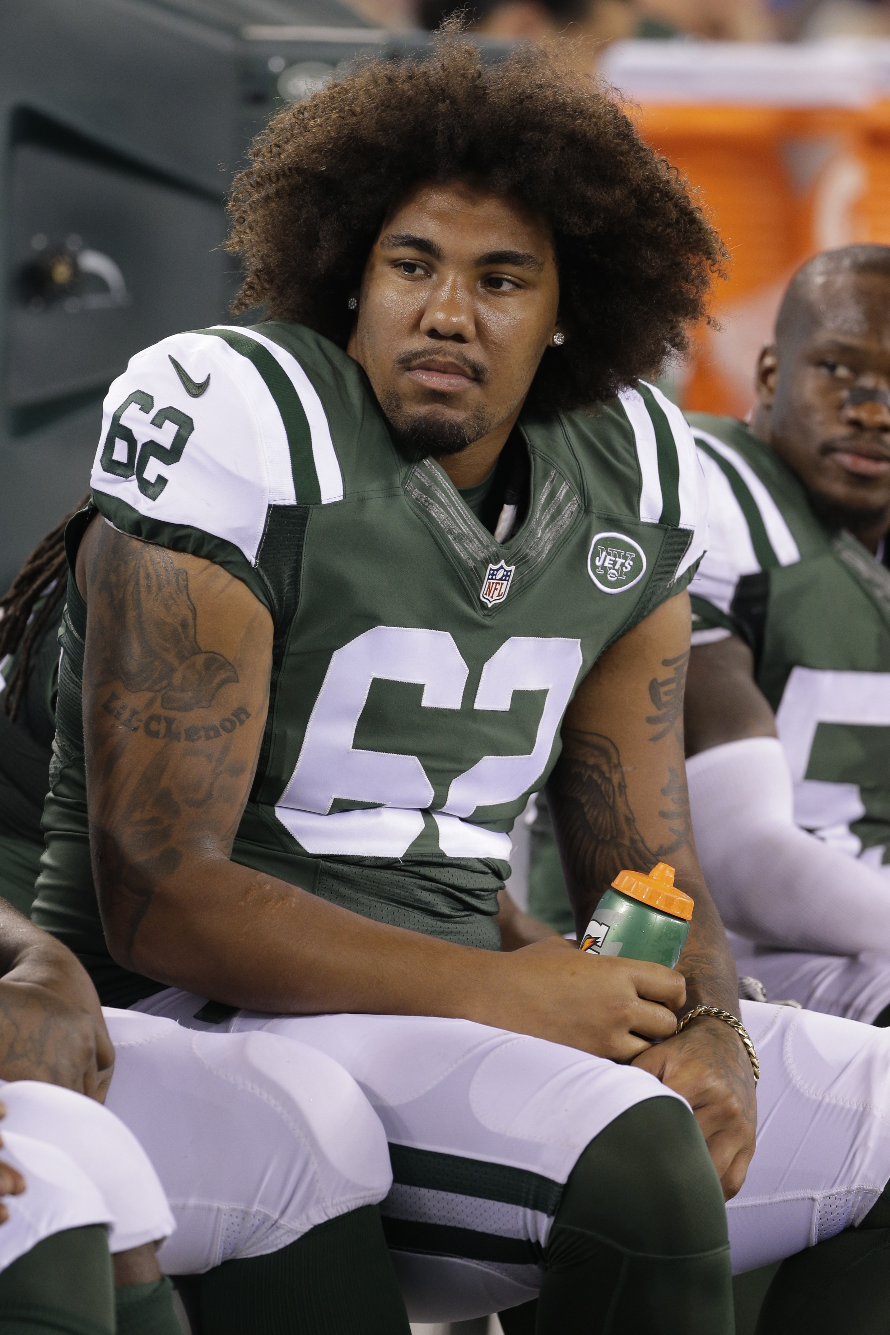 FILE - In this Sept. 3, 2015, file photo, New York Jets defensive tackle Leonard Williams (62) talks to teammates during the second half of a preseason NFL football game against the Philadelphia Eagles in East Rutherford, N.J. Williams realized toward the