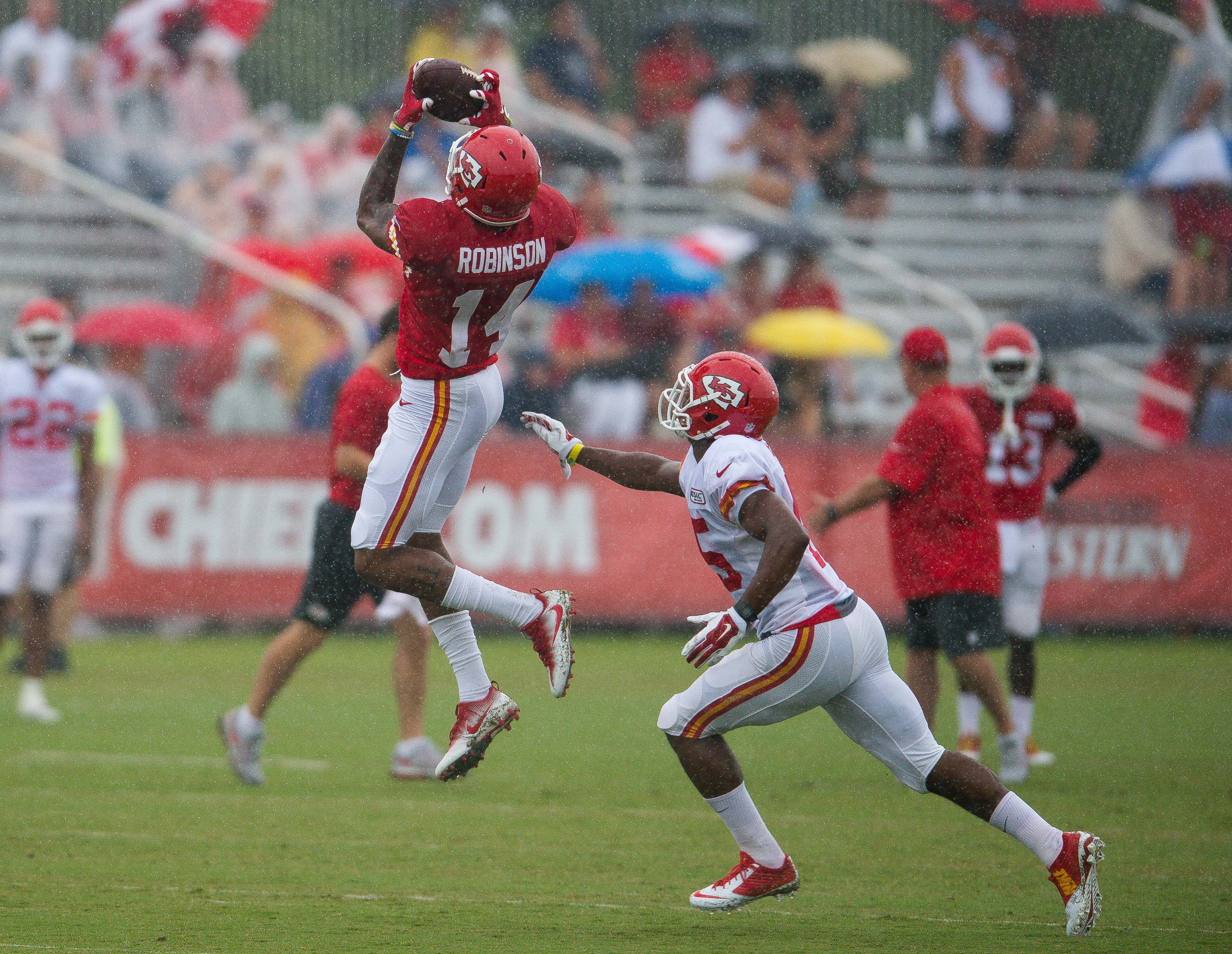 Kansas City Chiefs wide receiver Demarcus Robinson leaps for a catch during NFL football training camp, Sunday, Aug. 7, 2016, in St. Joseph, Mo. (Dougal Brownlie/The St. Joseph News-Press via AP)