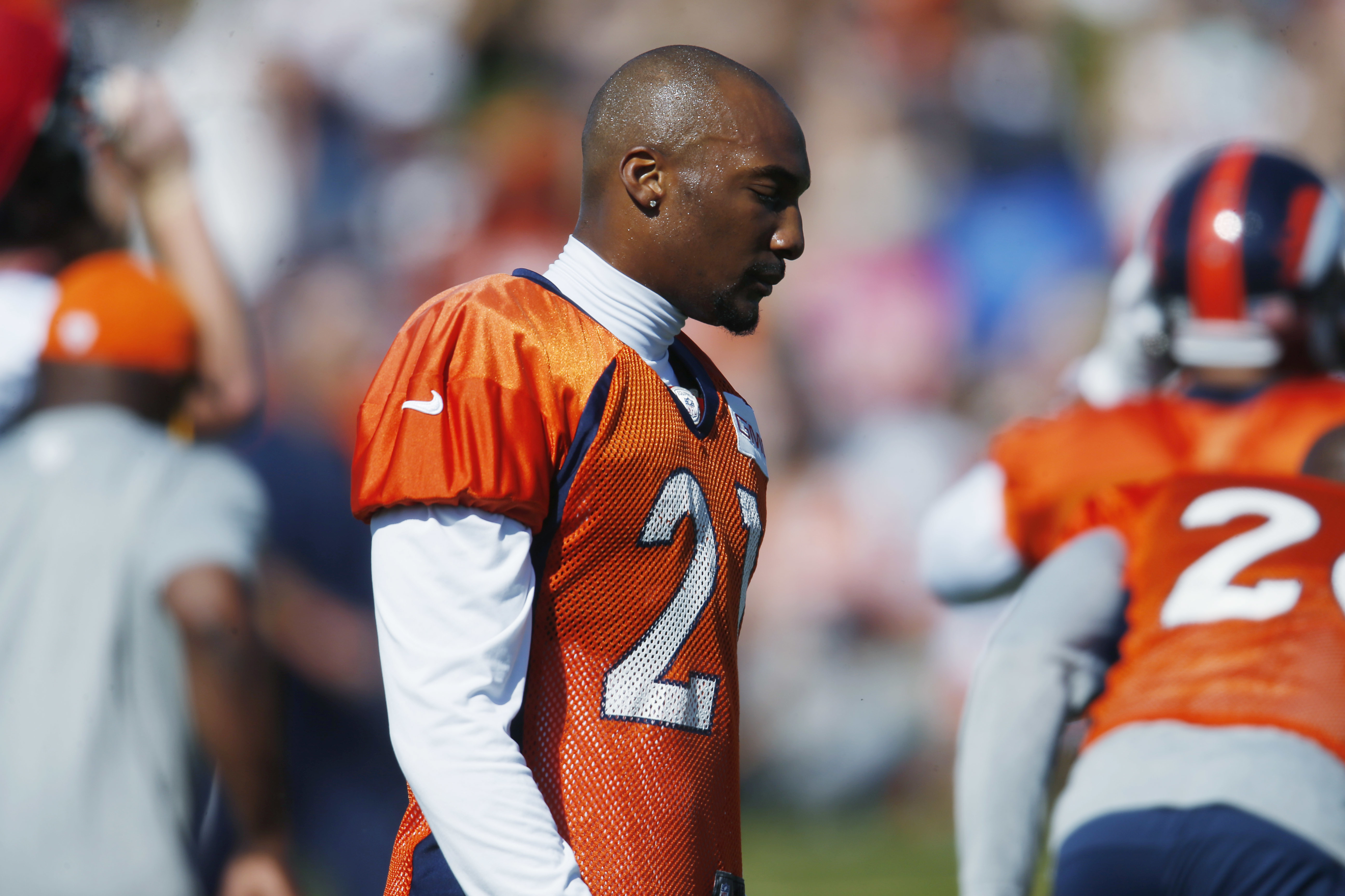 Denver Broncos cornerback Aqib Talib takes part in drills during the team's NFL football practice Monday, Aug. 8, 2016 in Englewood, Colo. (AP Photo/David Zalubowski)