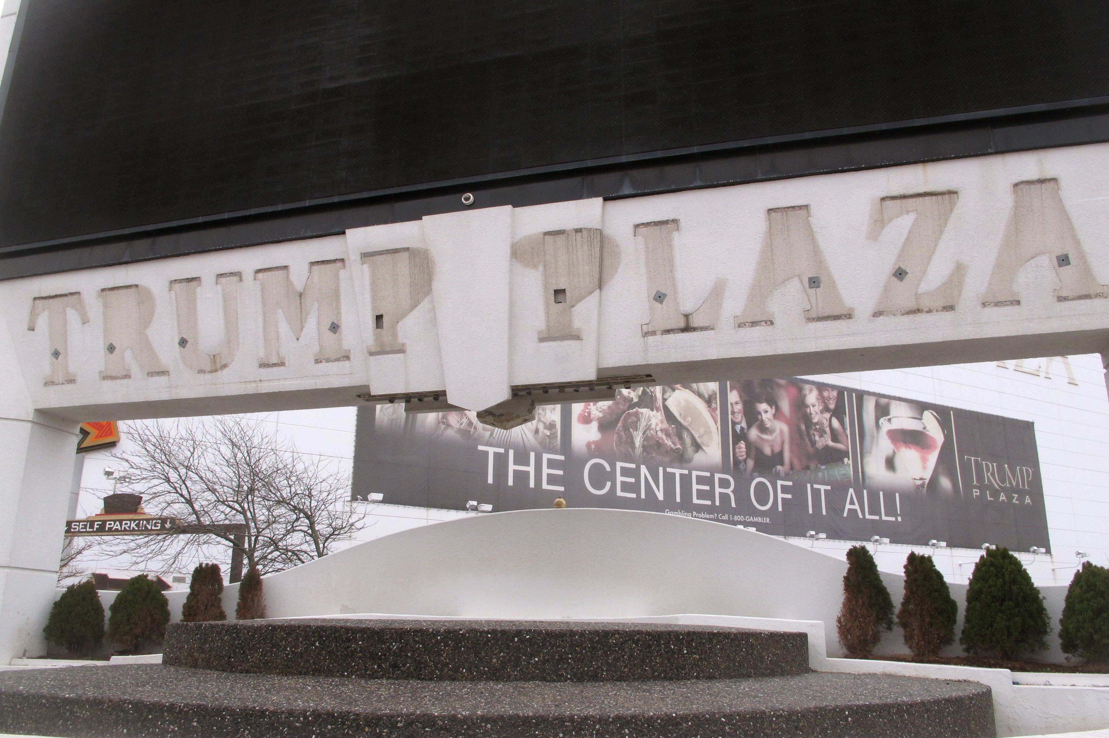 "FILE - This Jan. 14, 2015, file photo, shows the outline of letters that once spelled out ""Trump Plaza"" on the facade of the former casino in Atlantic City N.J. The federal ban on sports betting in all but four states was upheld Tuesday, Aug. 25, 2015, de"