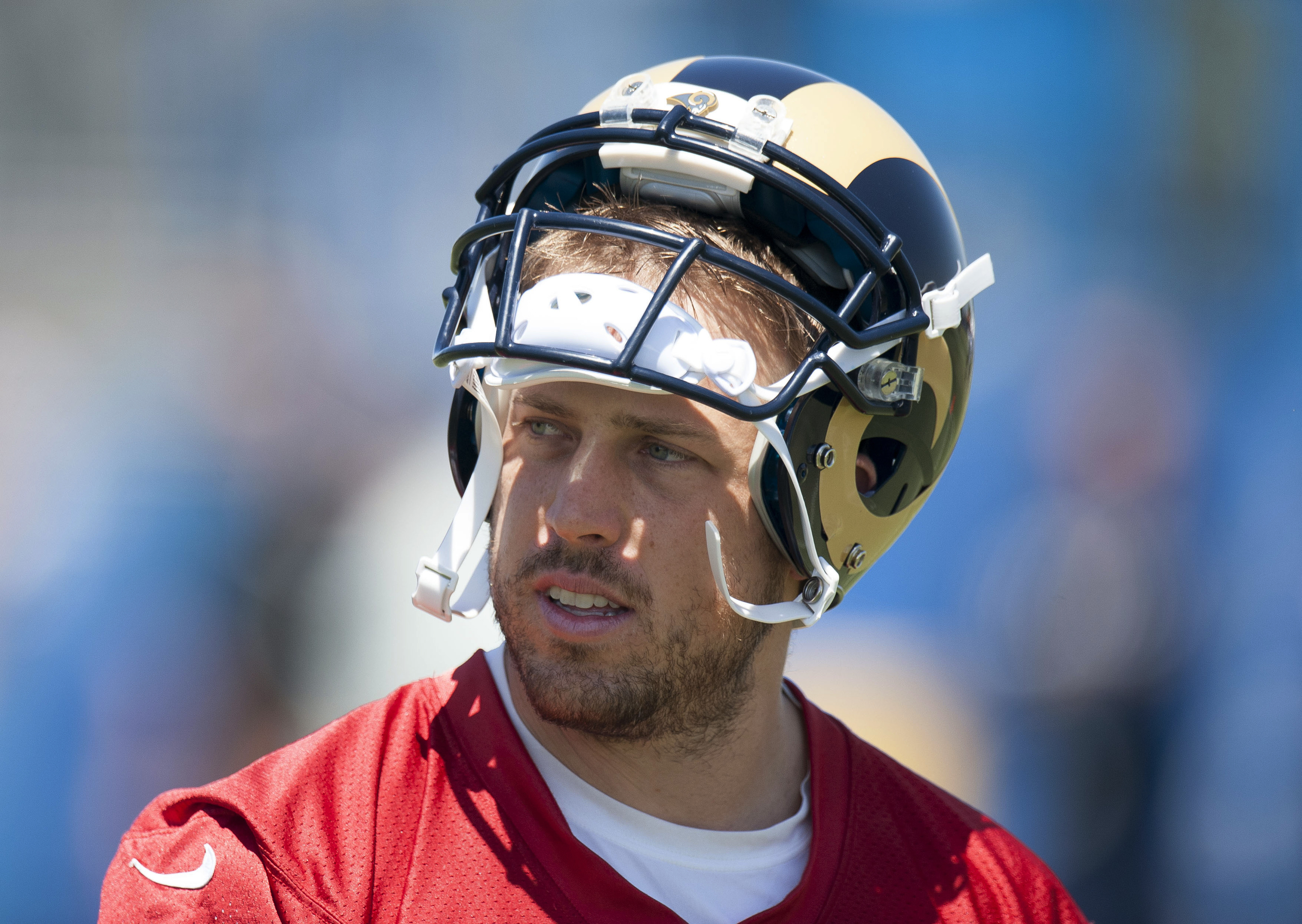 Los Angeles Rams quarterback Case Keenum heads tot the locker room after practice at the NFL football team's training camp, Thursday, Aug. 11, 2016, in Irvine, Calif. (Kevin Sullivan/The Orange County Register via AP)