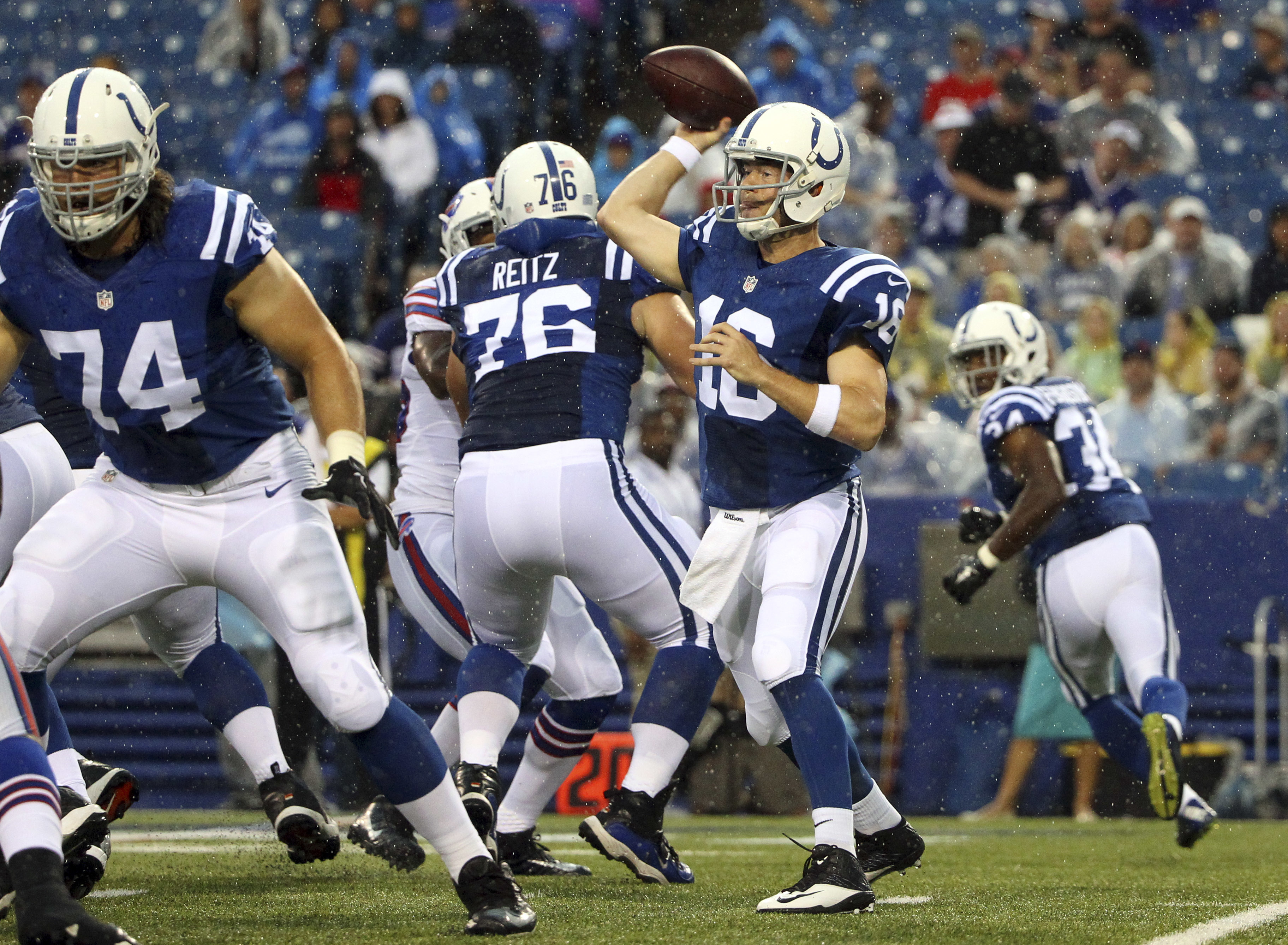 Indianapolis Colts quarterback Scott Tolzien (16) passes behind a block by tackle Anthony Castonzo (74) during the first half of a preseason NFL football game against the Buffalo Bills Saturday, Aug. 13, 2016, in Orchard Park, N.Y. (AP Photo/Bill Wippert)