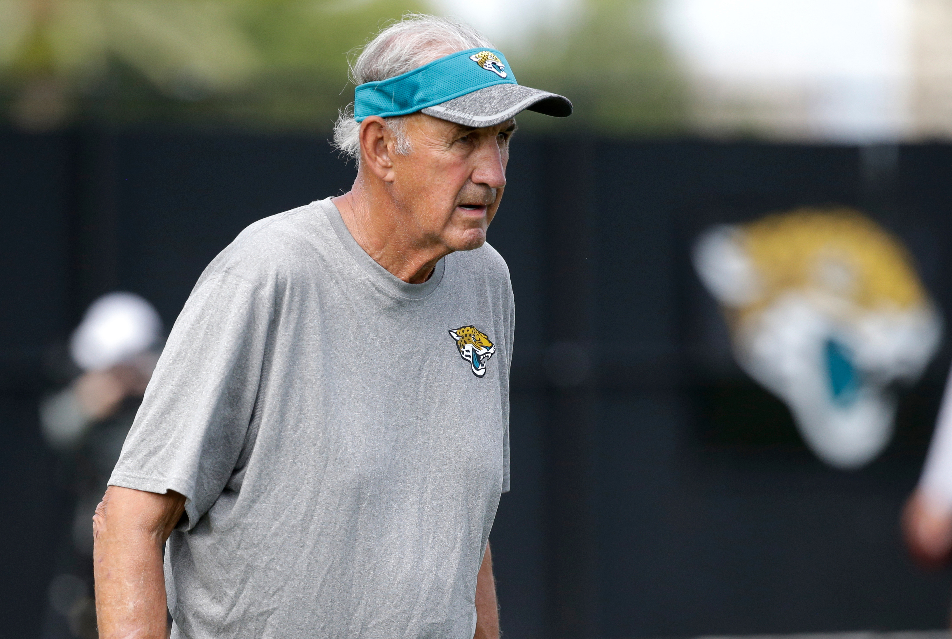 FILe - In this July 30, 2016, file photo, Jacksonville Jaguars defensive assistant Monte Kiffin watches practice during NFL football training camp, in Jacksonville, Fla. Kiffin didn't handle retirement very well.  So the 76-year-old got back into coaching