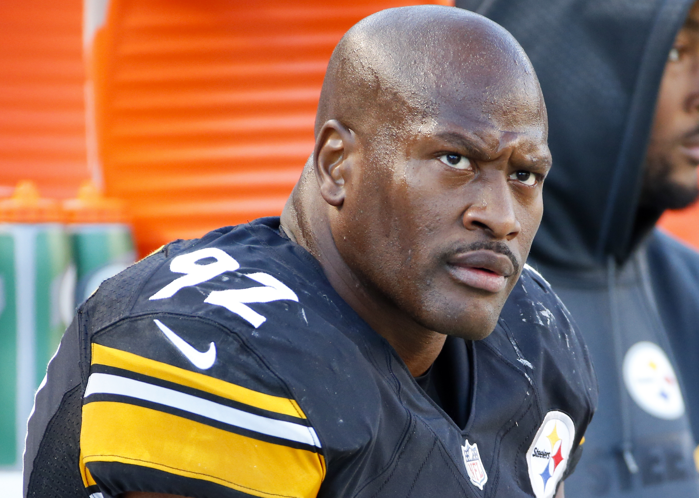 FILE - In this Nov. 8, 2015, file photo, Pittsburgh Steelers outside linebacker James Harrison (92) sits on the sidelines during an NFL football game against the Oakland Raiders in Pittsburgh. Harrison said in an affidavit sent to the NFL that he never me