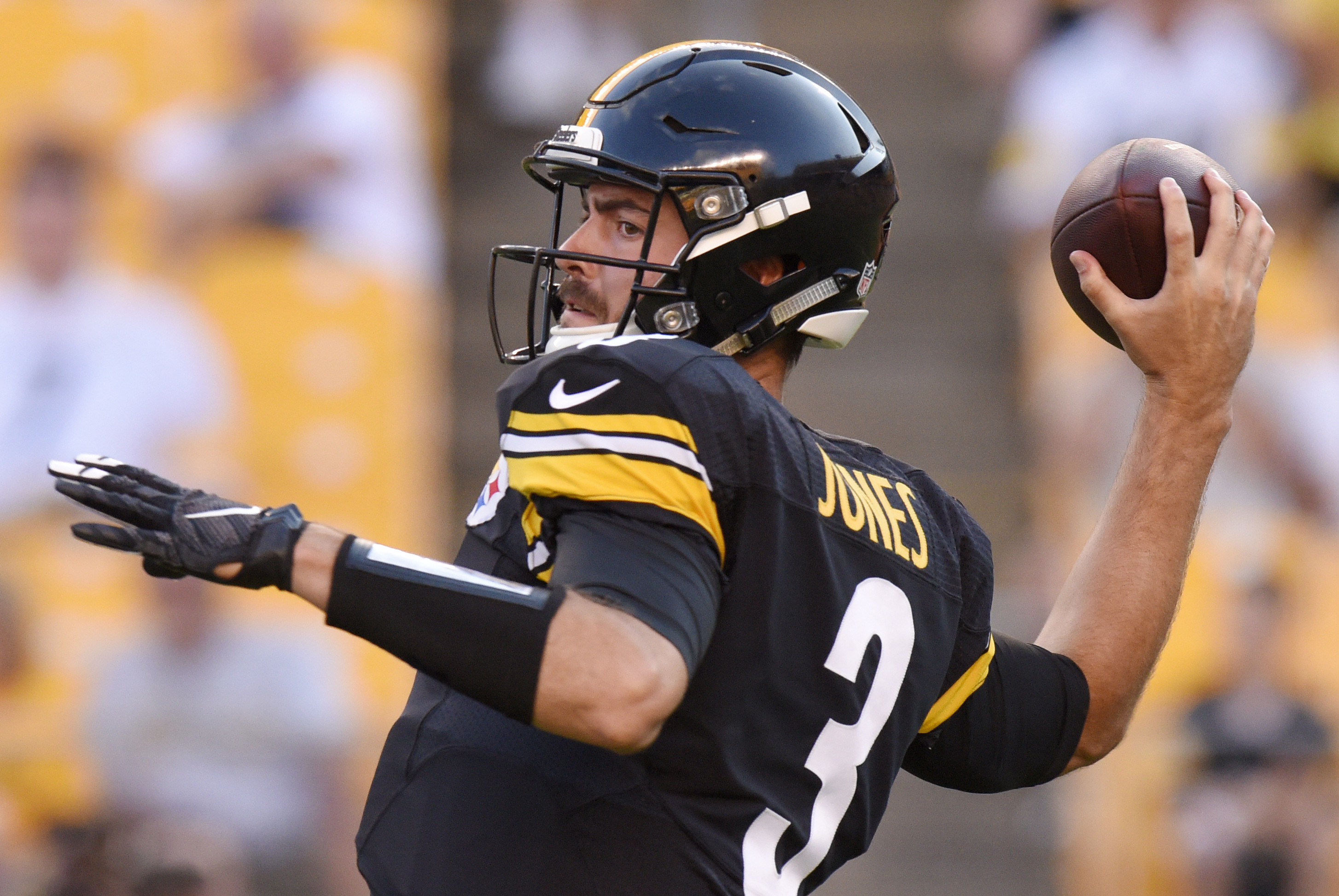 Pittsburgh Steelers quarterback Landry Jones (3) throws a pass during the first half of an NFL preseason football game against the Philadelphia Eagles in Pittsburgh, on Thursday, Aug. 18, 2016. (AP Photo/Don Wright)