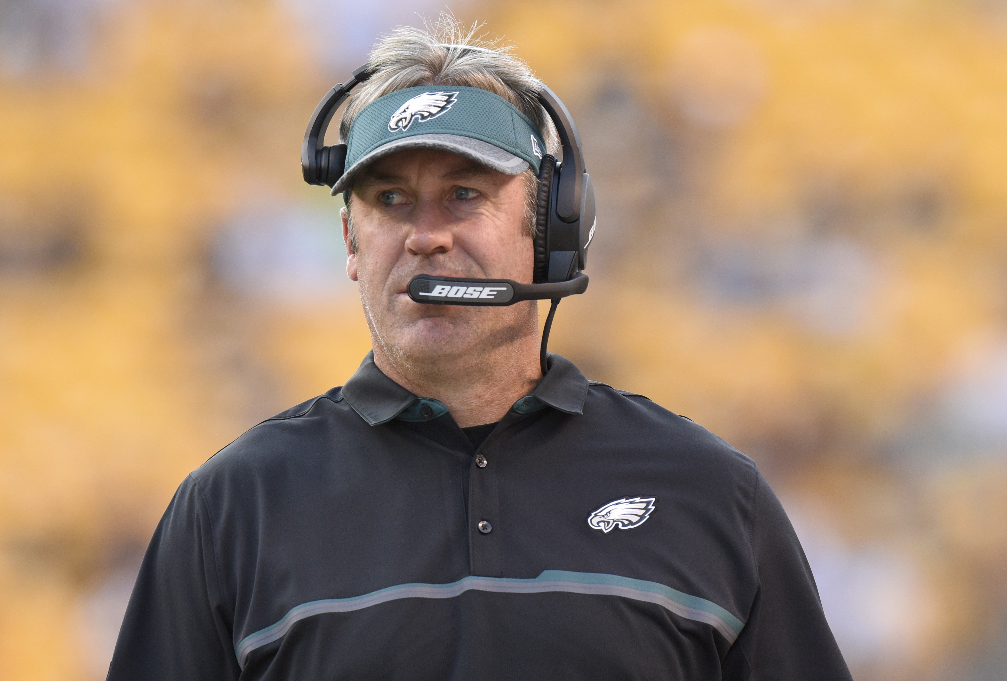 Philadelphia Eagles coach Doug Pederson watches during the first half of the team's NFL preseason football game against the Pittsburgh Steelers in Pittsburgh on Thursday, Aug. 18, 2016. (AP Photo/Don Wright)