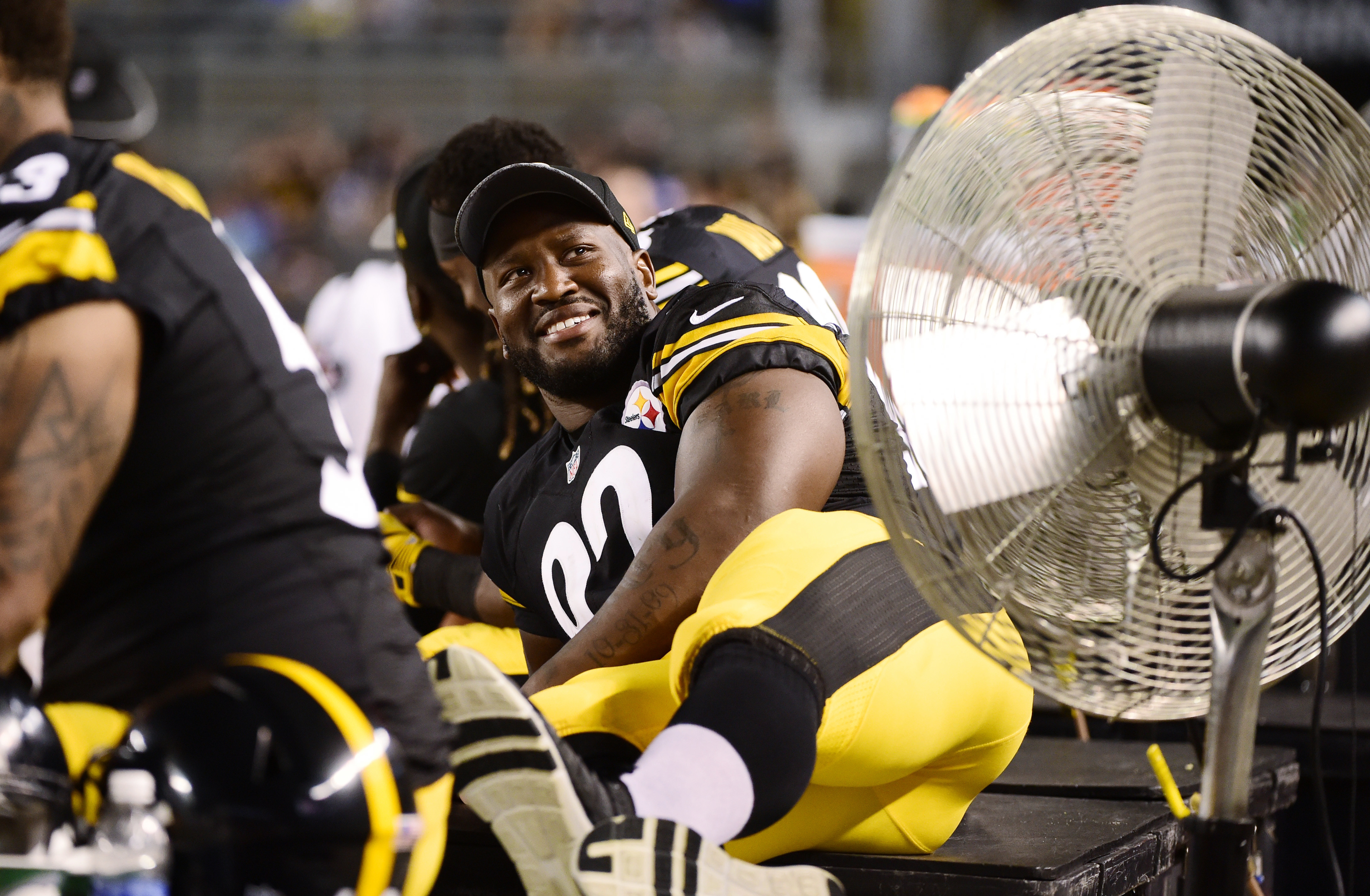 Pittsburgh Steelers outside linebacker James Harrison (92) lies on a bench during the second half of an NFL preseason football game against the Philadelphia Eagles in Pittsburgh, on Thursday, Aug. 18, 2016. (AP Photo/Fred Vuich)