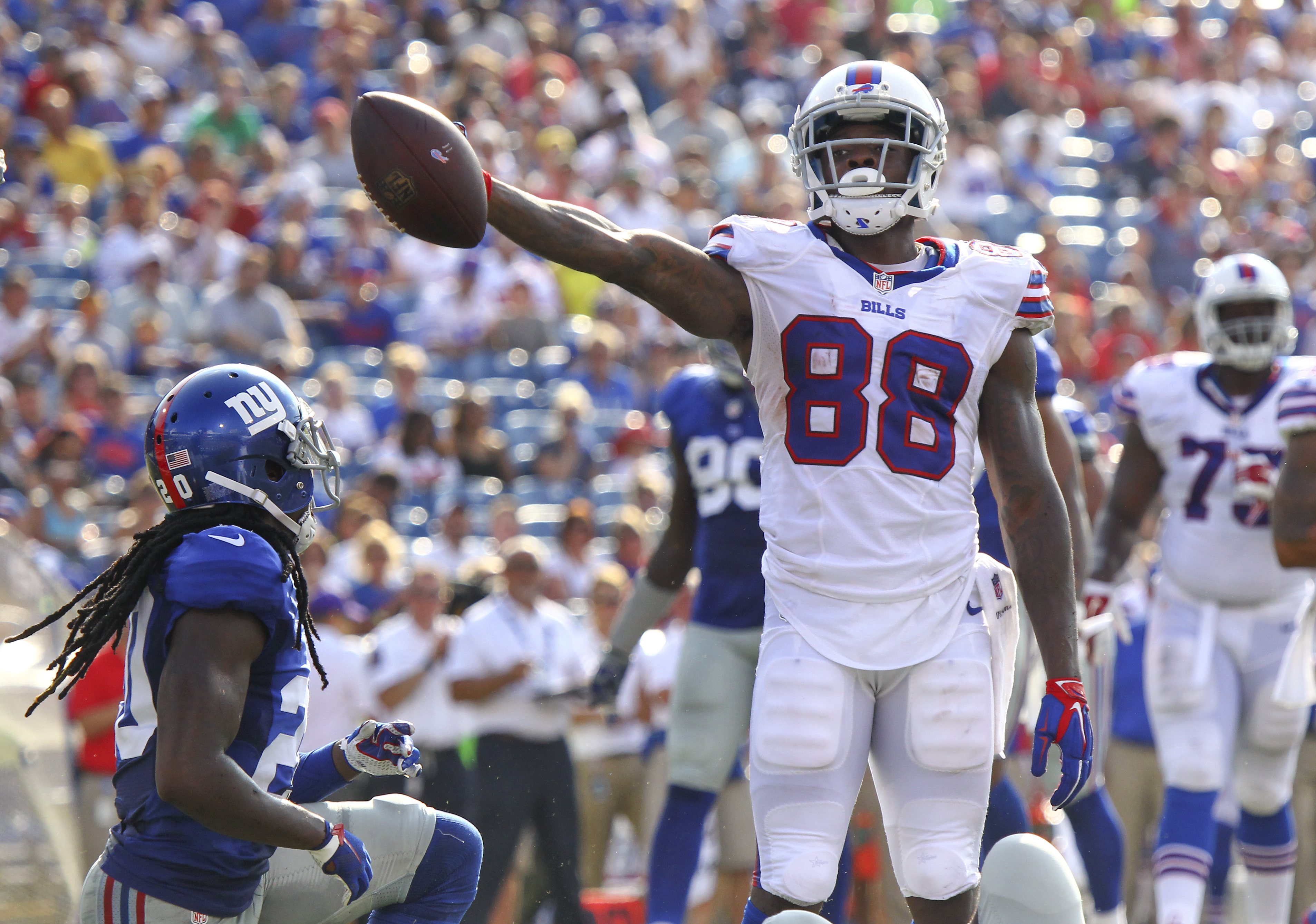 Buffalo Bills wide receiver Marquise Goodwin (88) reacts after gaining a first down against the New York Giants inside their five yard line during the second quarter of a preseason NFL football game, Saturday, Aug. 20, 2016, in Buffalo, N.Y. (AP Photo/Jef