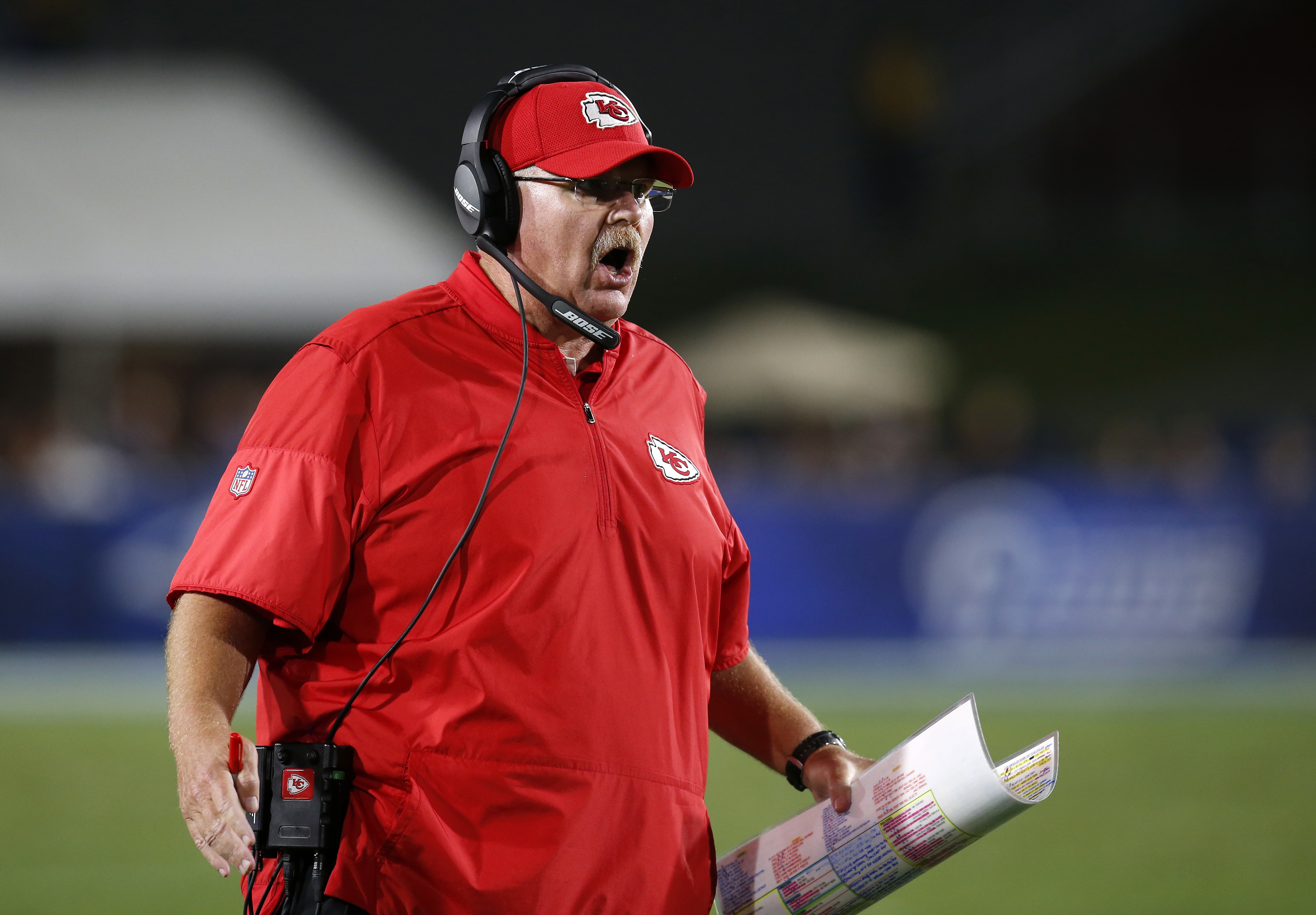 Kansas City Chiefs head coach Andy Reid yells from the sideline during the second half of a preseason NFL football game against the Los Angeles Rams, Saturday, Aug. 20, 2016, in Los Angeles. (AP Photo/Rick Scuteri)
