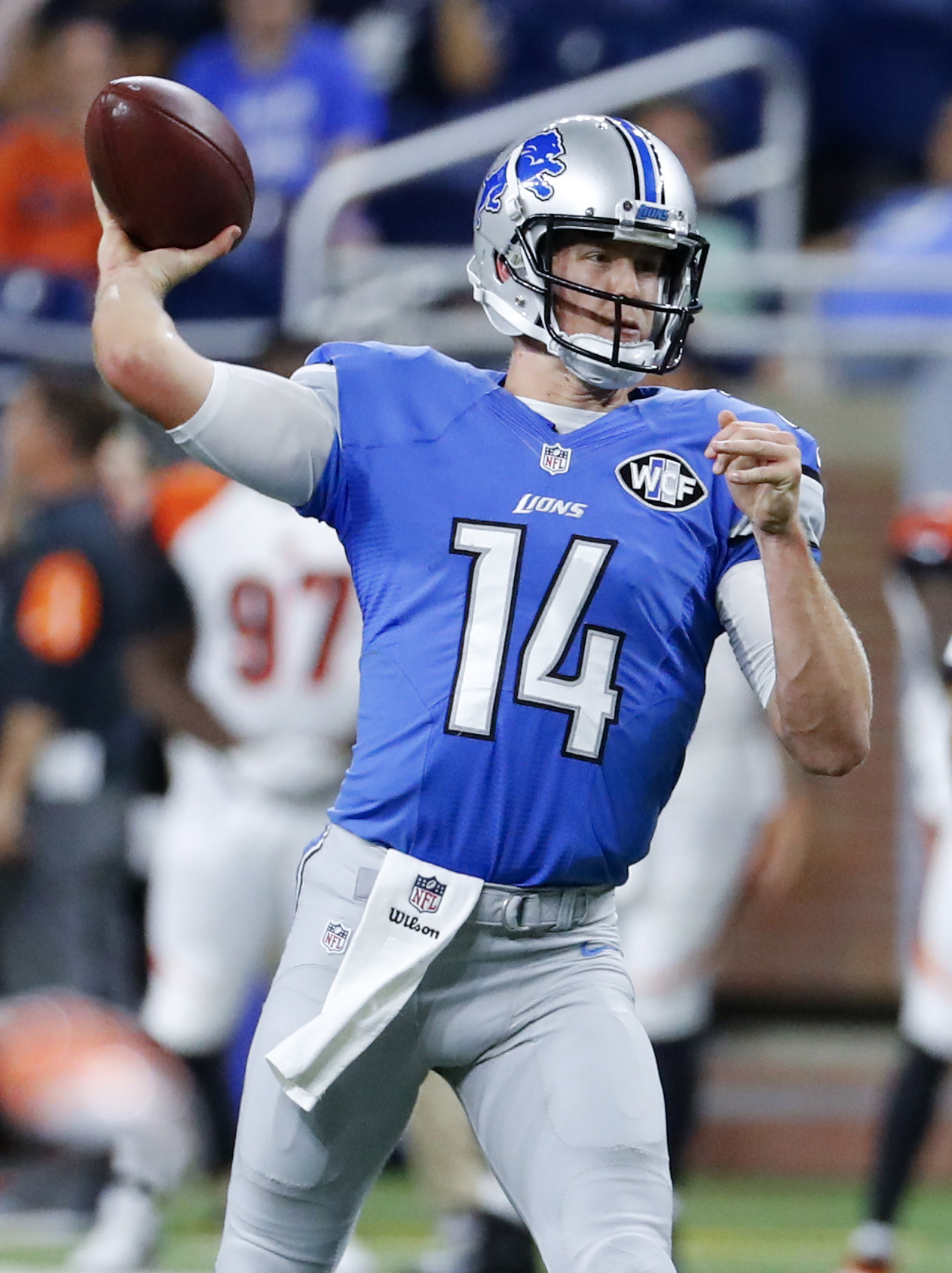 FILE - In this Aug. 18, 2016, file photo, Detroit Lions quarterback Jake Rudock throws against the Cincinnati Bengals in the second half of an NFL preseason football game in Detroit. The Lions are counting on Matthew Stafford taking every snap this season