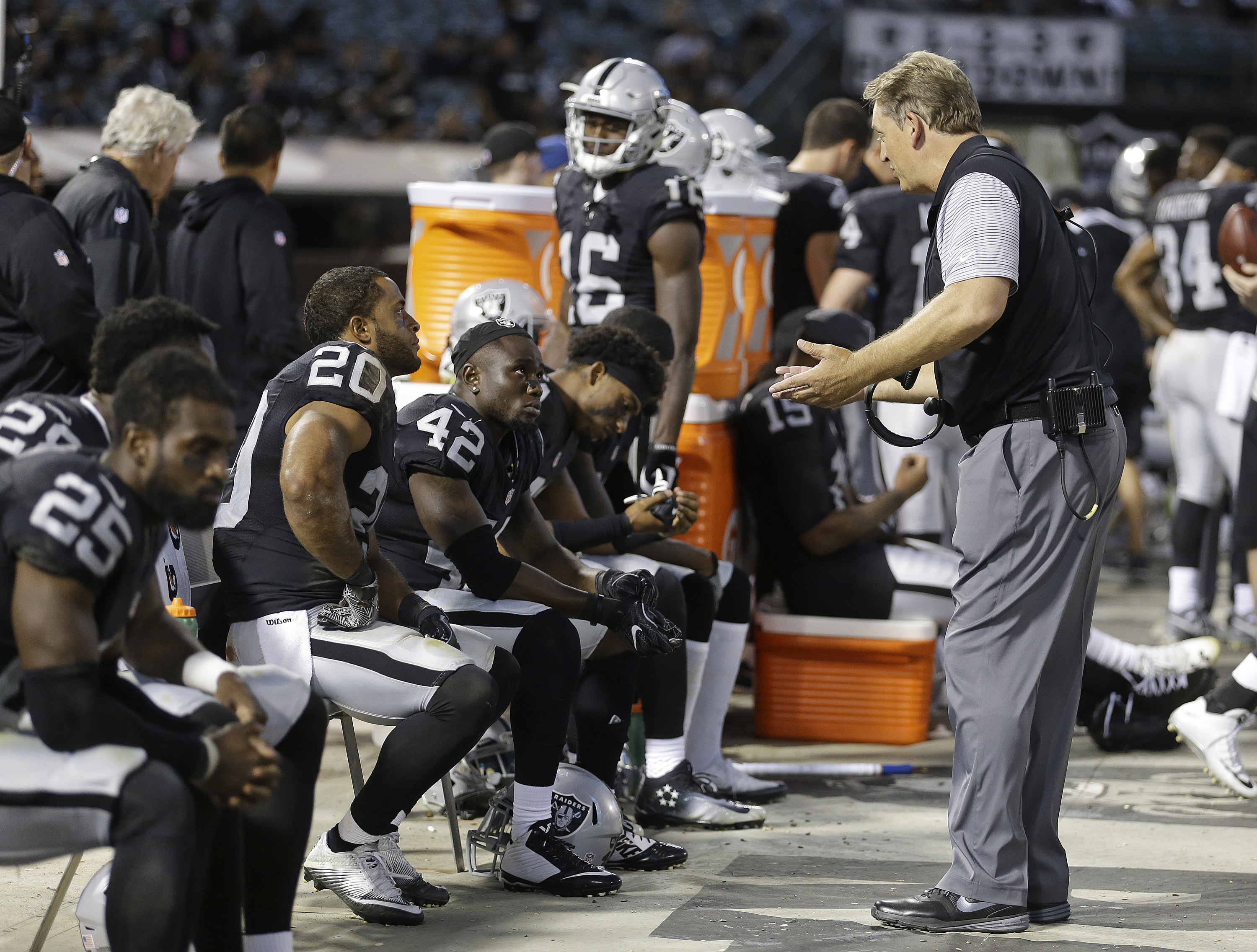Oakland Raiders head coach Jack Del Rio gestures toward safety Karl Joseph (42) and strong safety Nate Allen (20) sitting on the bench during the second half of an NFL preseason football game against the Tennessee Titans Saturday, Aug. 27, 2016, in Oaklan