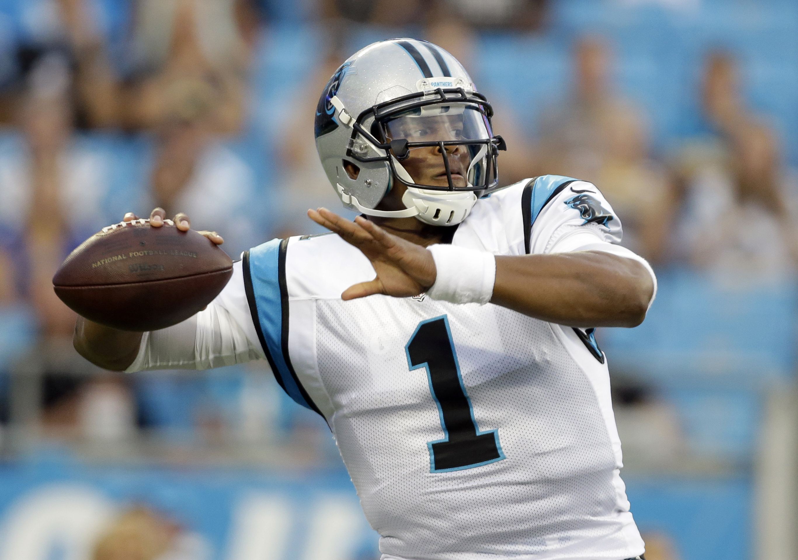 FILE - In a Friday, Aug. 26, 2016 file photo, Carolina Panthers' Cam Newton (1) looks to pass against the New England Patriots during the first half of a preseason NFL football game in Charlotte, N.C.. The last four teams to play for the NFC championship